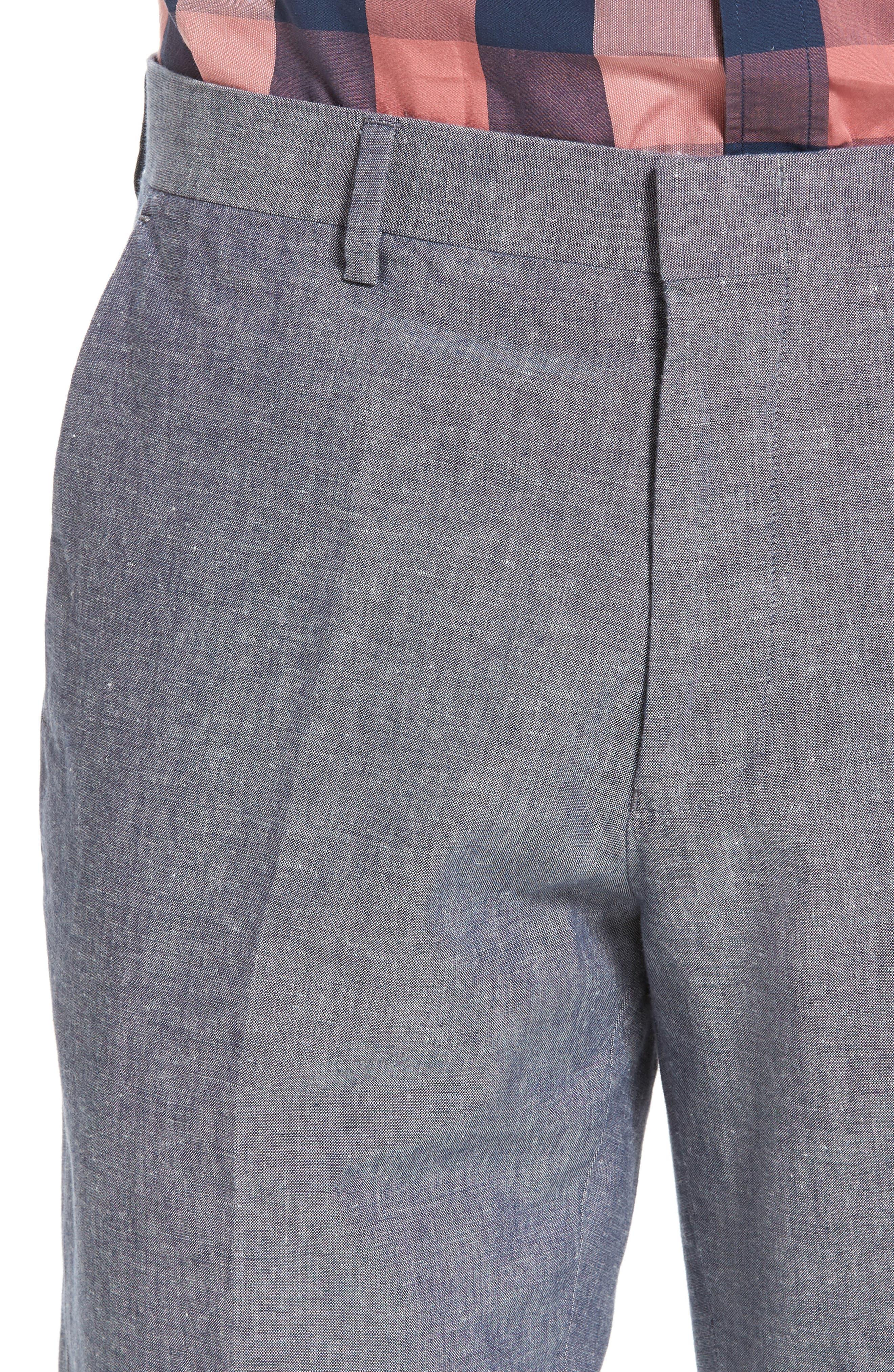 Ludlow Trim Fit Cotton & Linen Suit Pants,                             Alternate thumbnail 4, color,                             Deep Water Blue