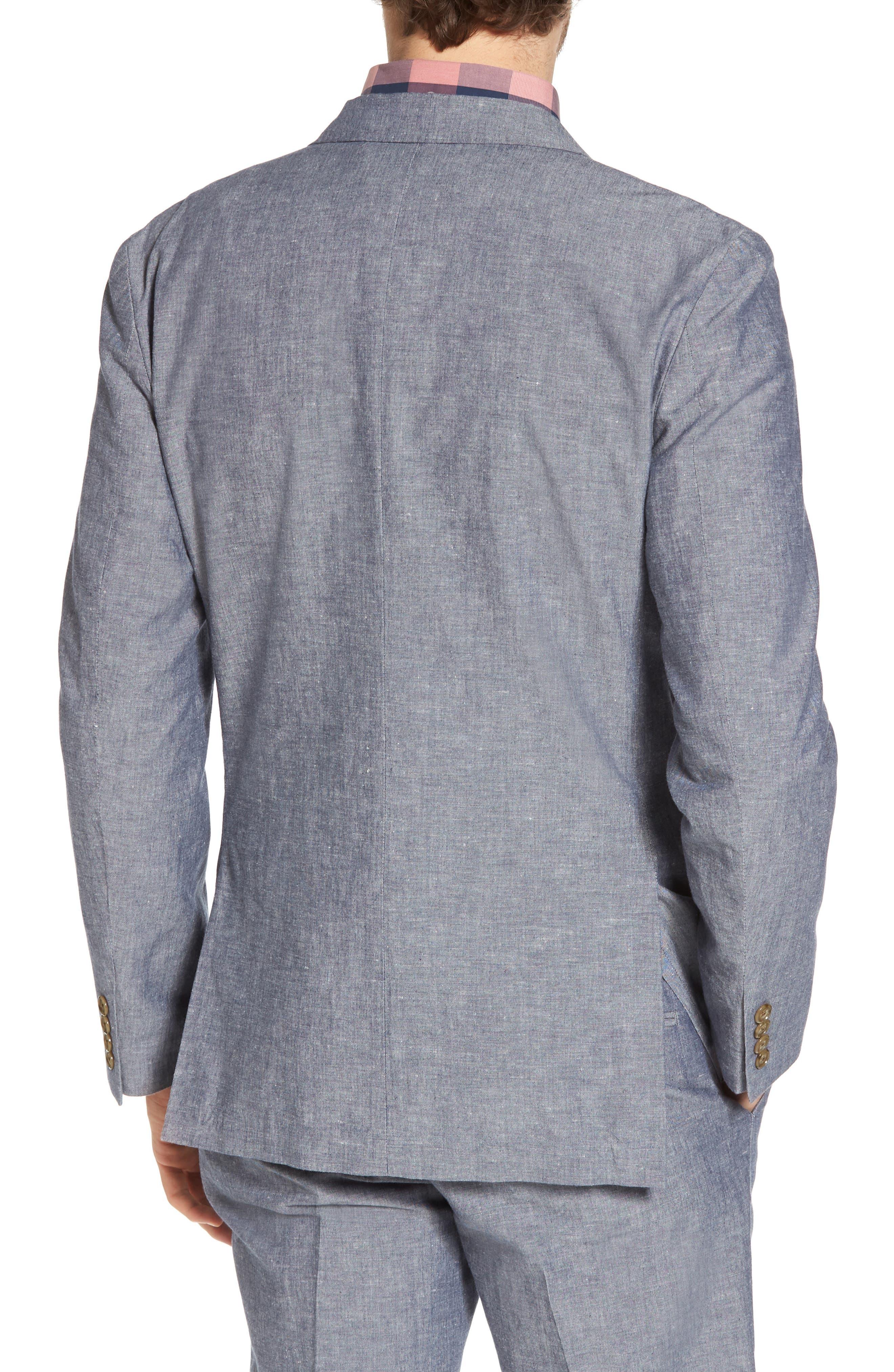 Ludlow Cotton & Linen Blazer,                             Alternate thumbnail 2, color,                             Deep Water Blue