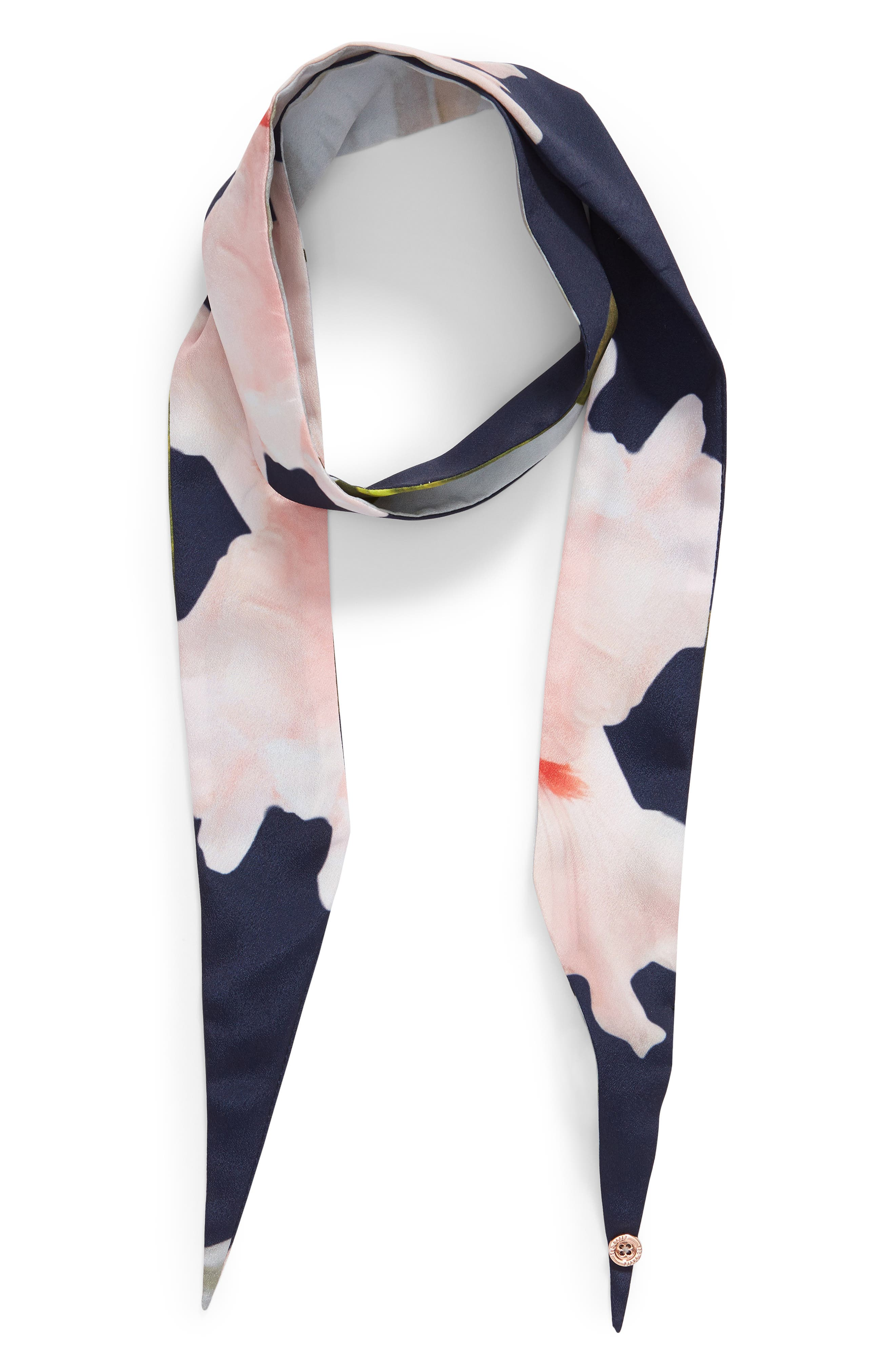 Chatsworth Bloom Skinny Scarf,                             Alternate thumbnail 2, color,                             Navy