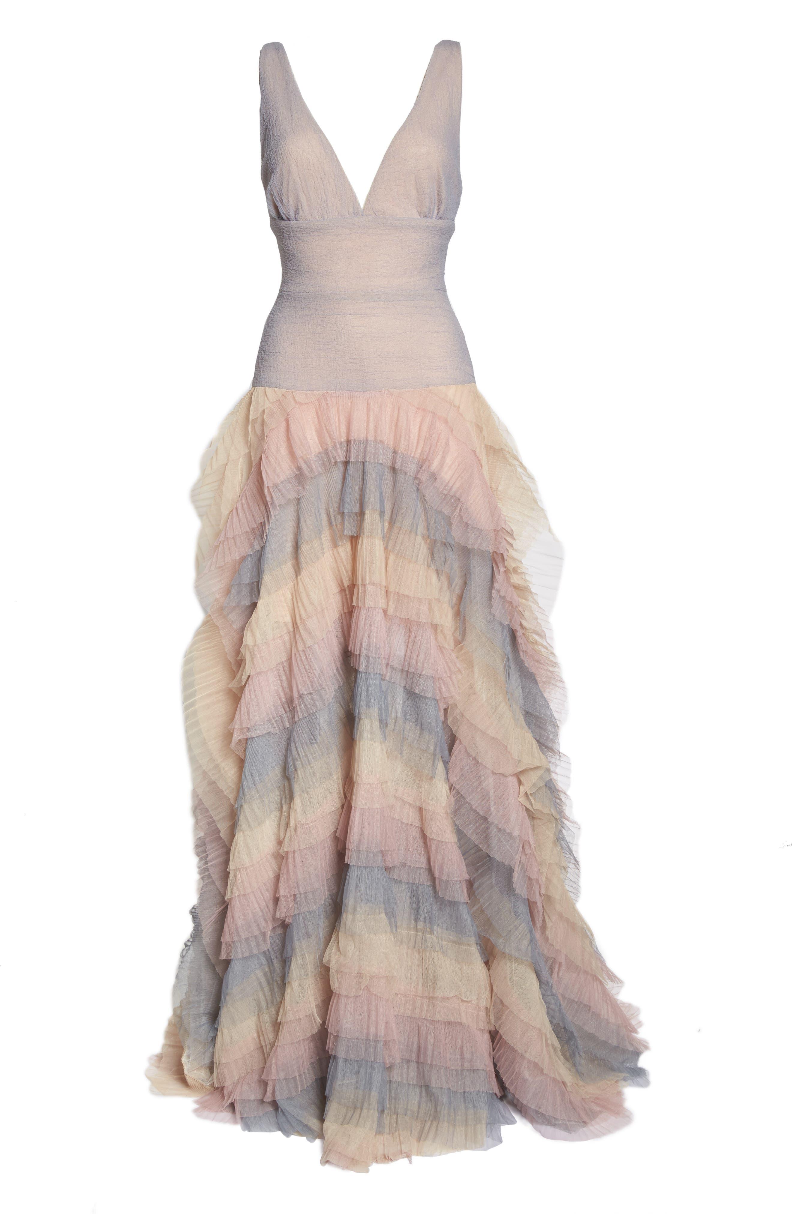 Amelia Tier Ruffle Gown,                             Alternate thumbnail 6, color,                             Multicolor