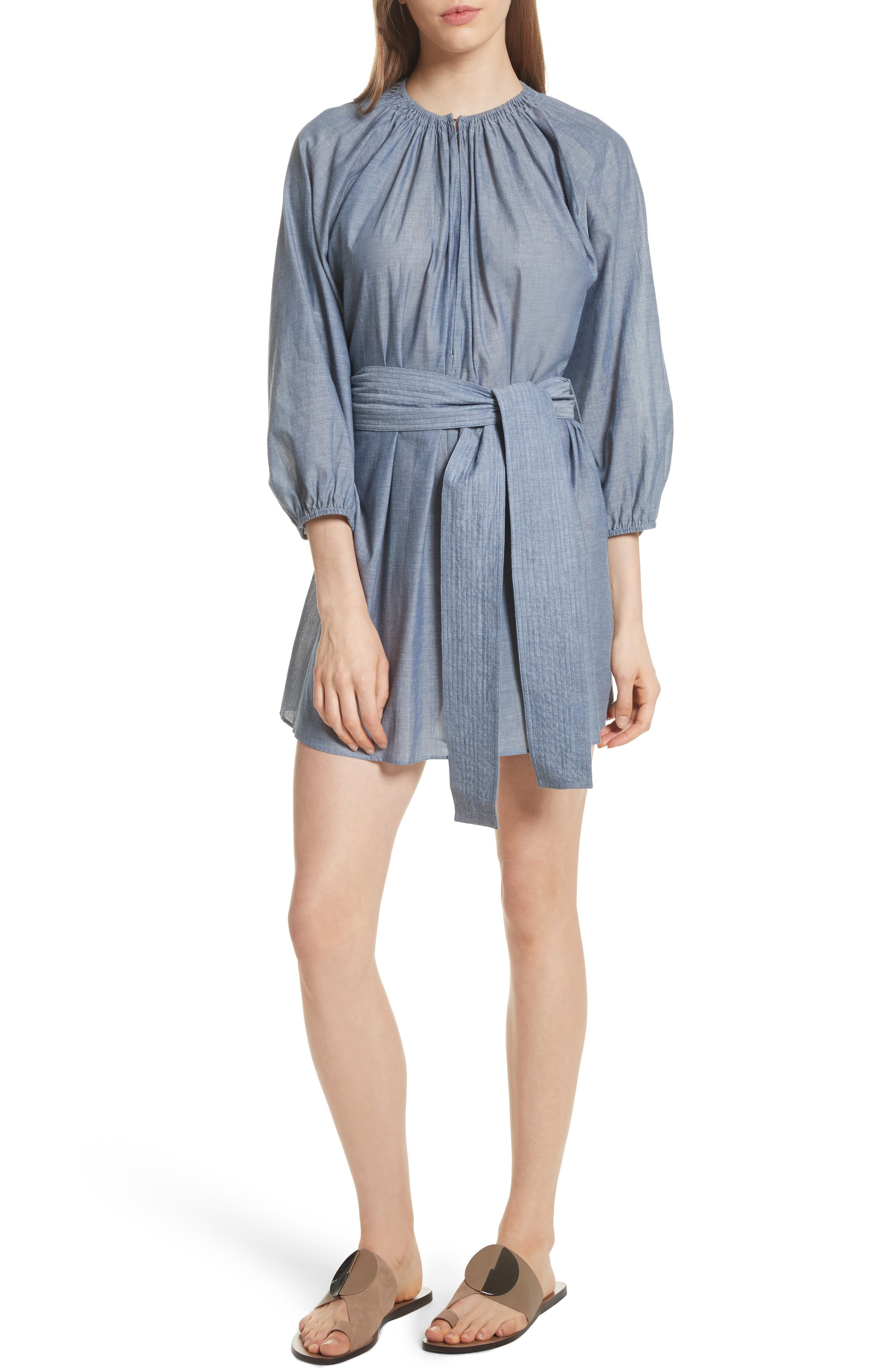 Isla Chambray Tie Waist Romper,                         Main,                         color, Chambray