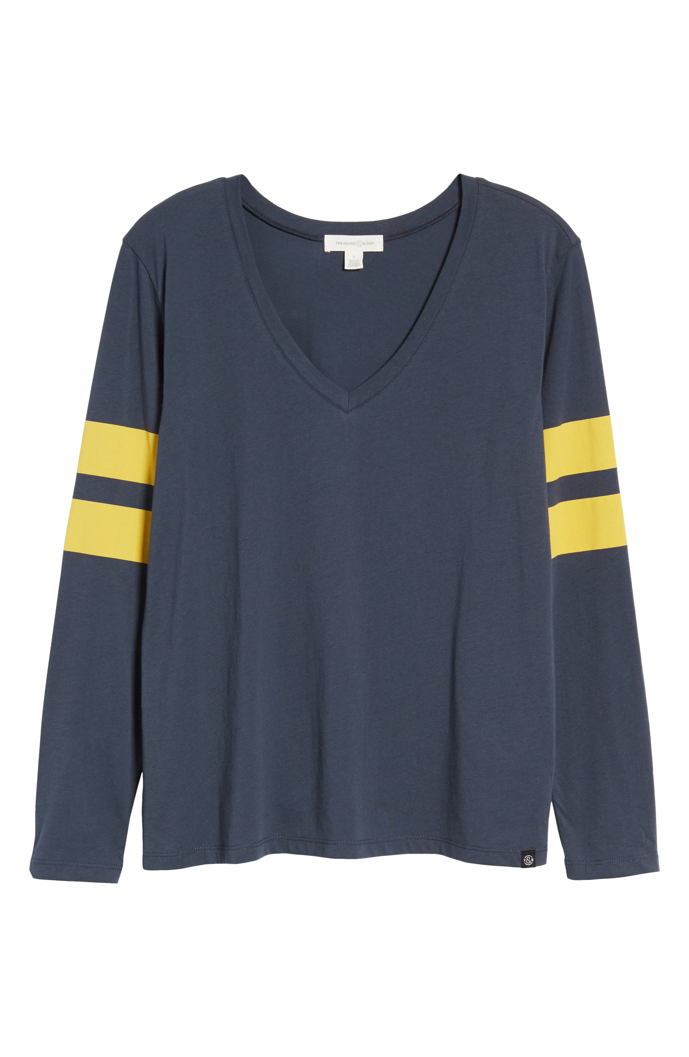 Varsity Stripe Tee,                             Alternate thumbnail 6, color,                             Navy Blue- Yellow Combo