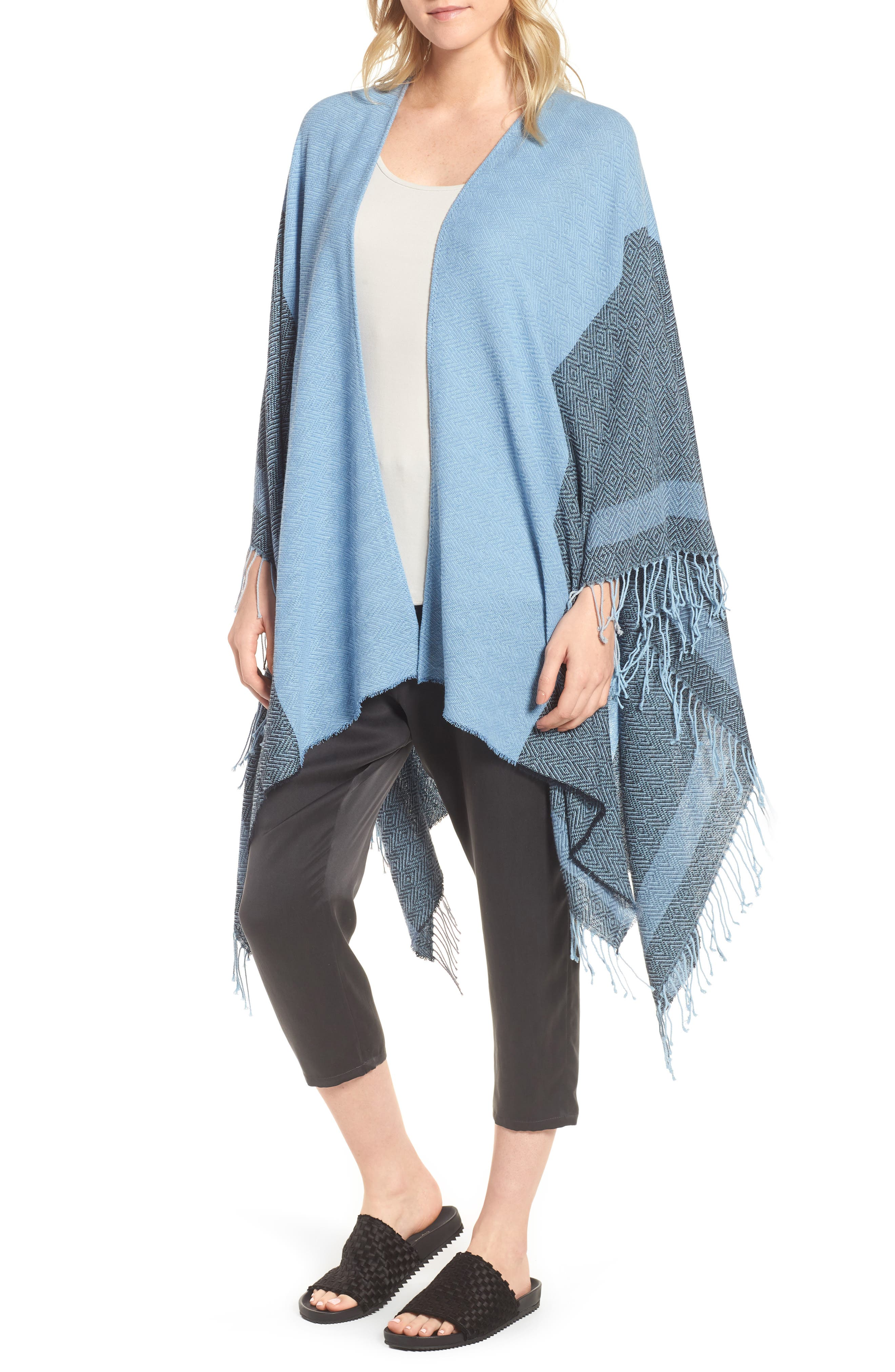 Eileen Fisher Recycled Cotton Poncho Wrap