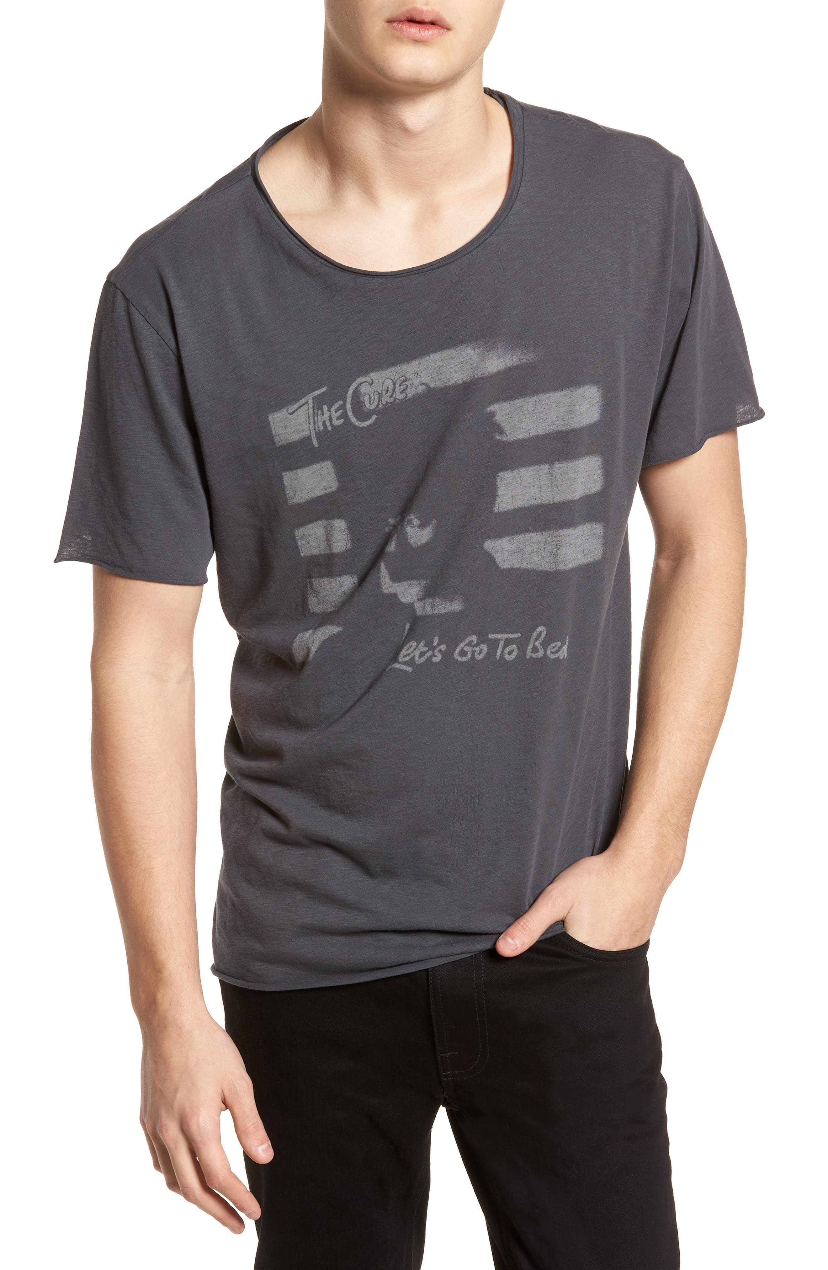 The Cure Crewneck T-Shirt,                         Main,                         color, Grey The Cure