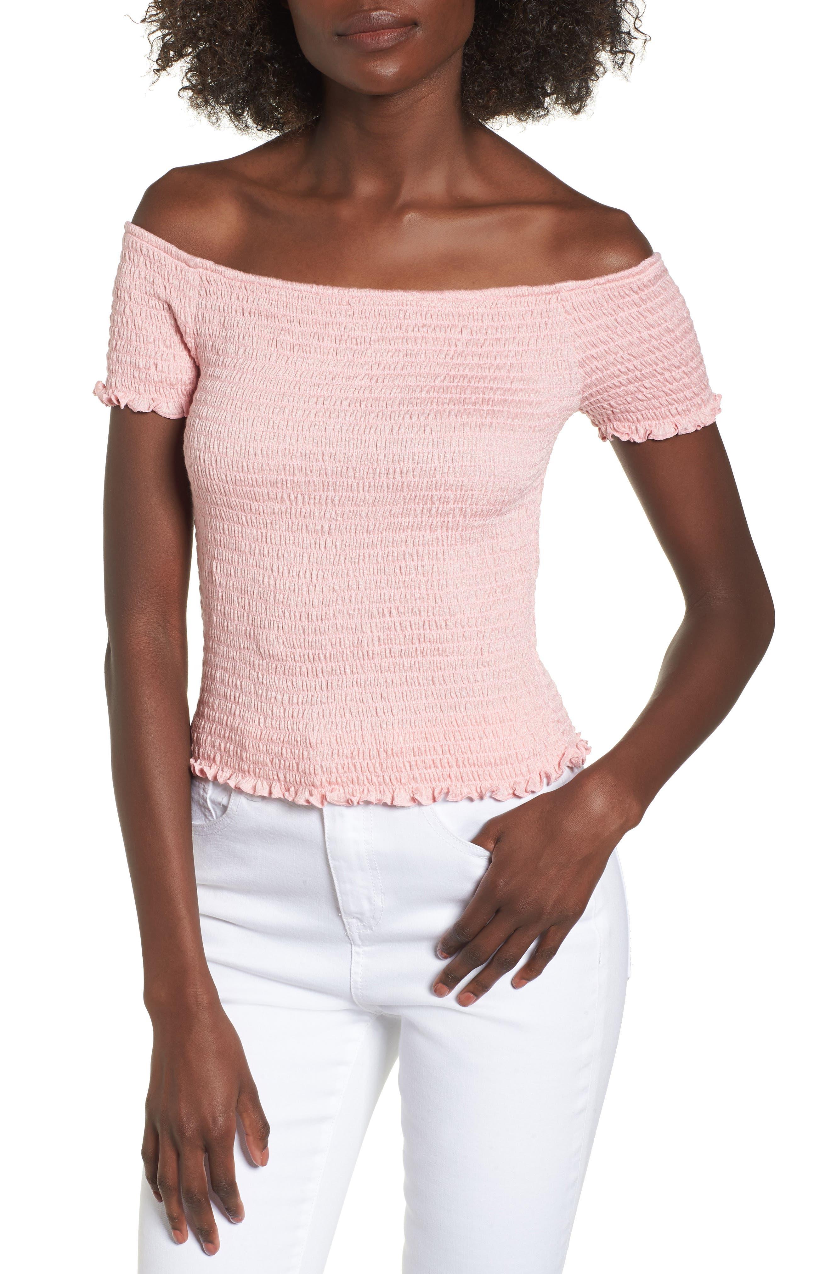 Smocked Off the Shoulder Neckline,                         Main,                         color, Pink