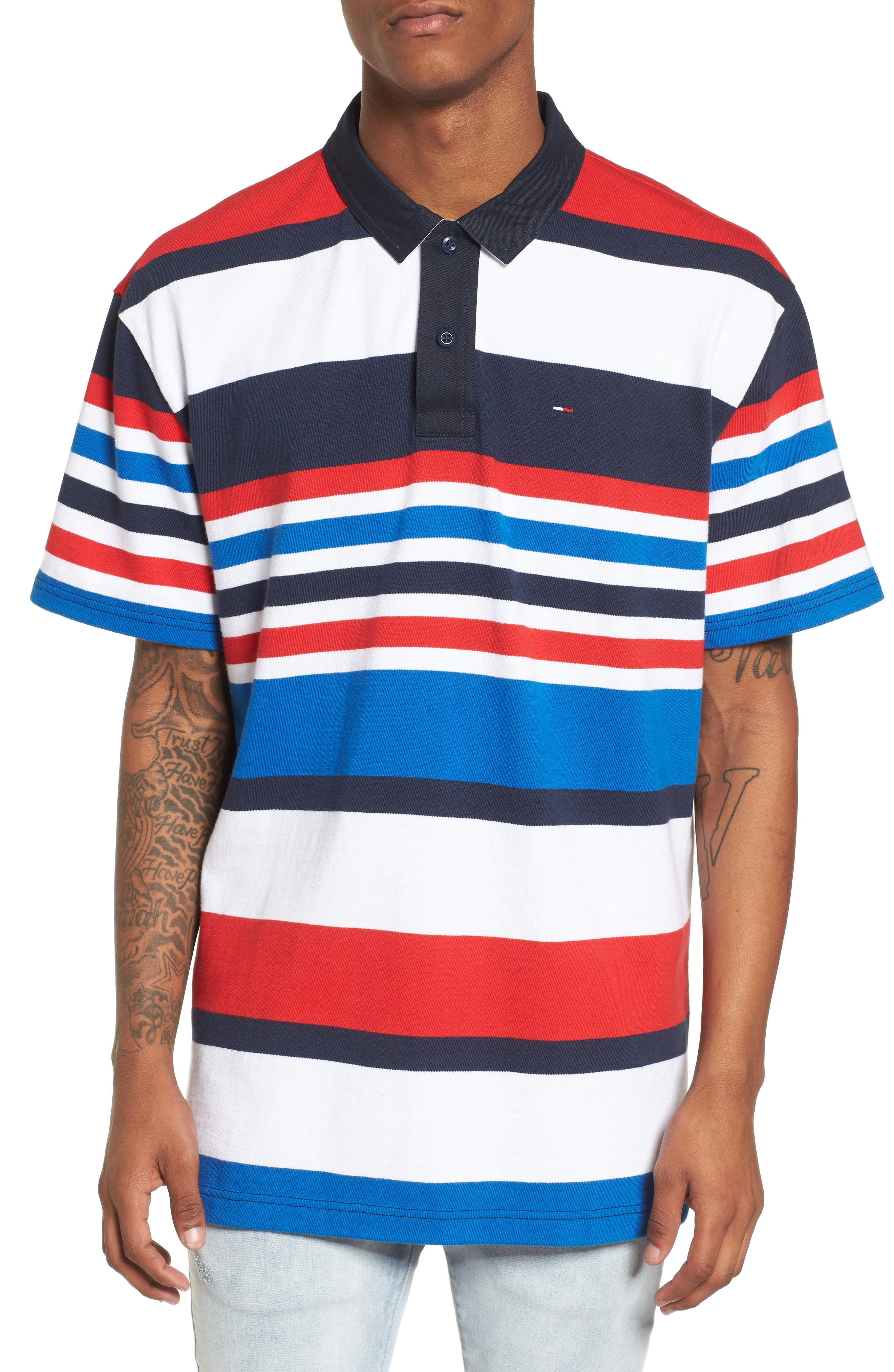 Stripe Rugby Polo,                         Main,                         color, Black Iris / Multi