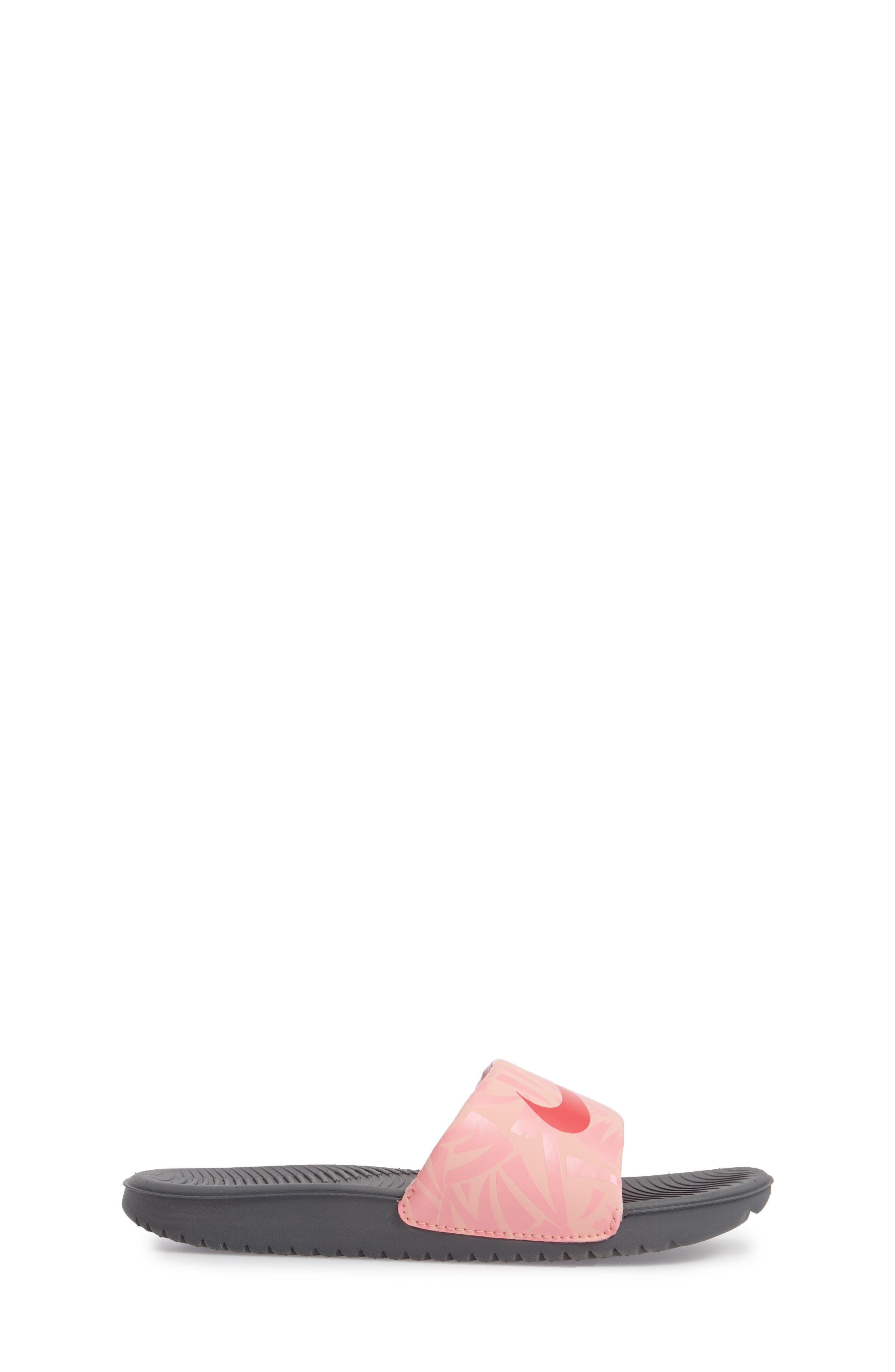 'Kawa' Print Slide Sandal,                             Alternate thumbnail 3, color,                             Grey/ Tropical Pink/ Coral