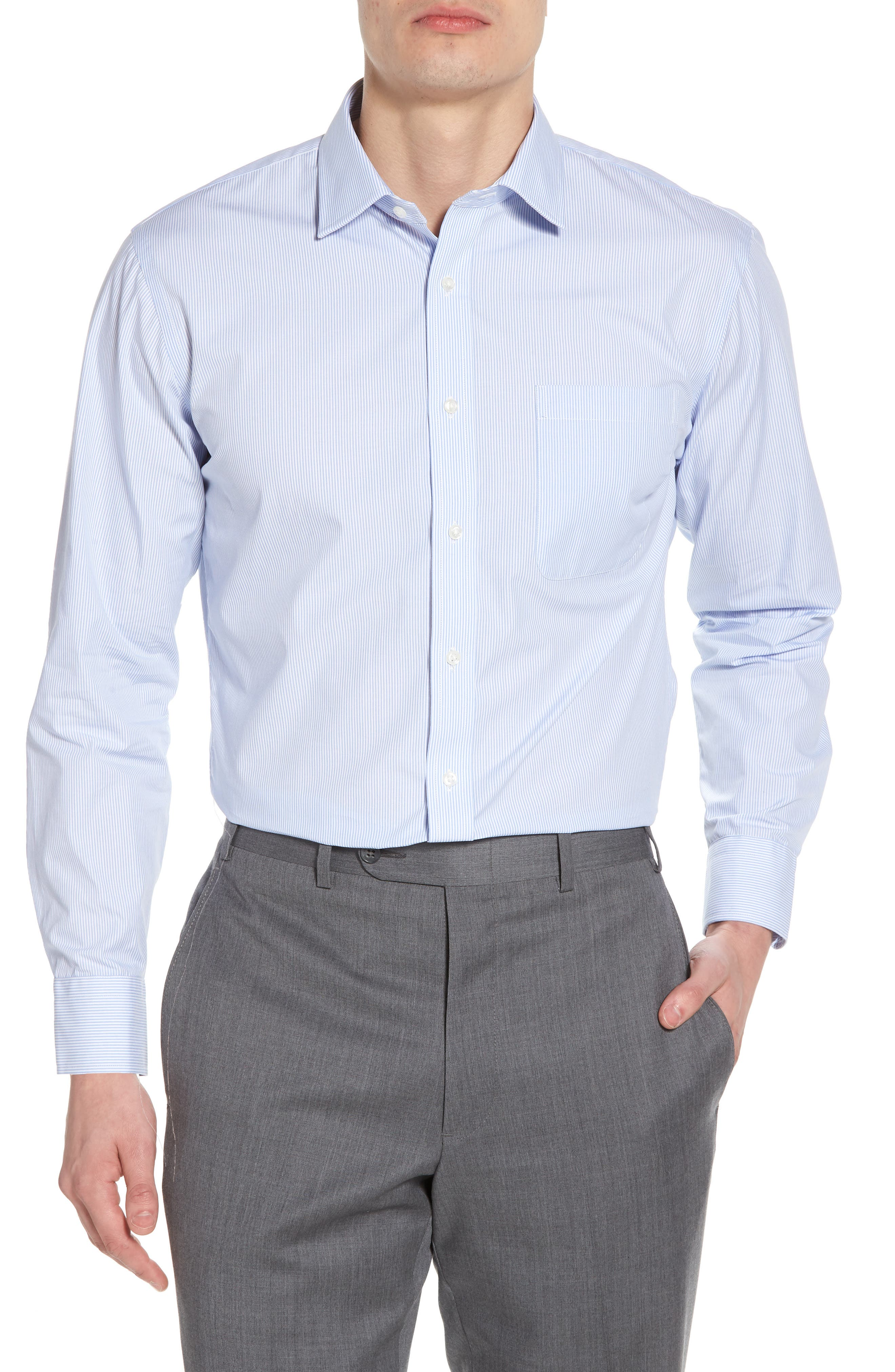 Nordstrom Men's Shop Trim Fit Non-Iron Stripe Dress Shirt