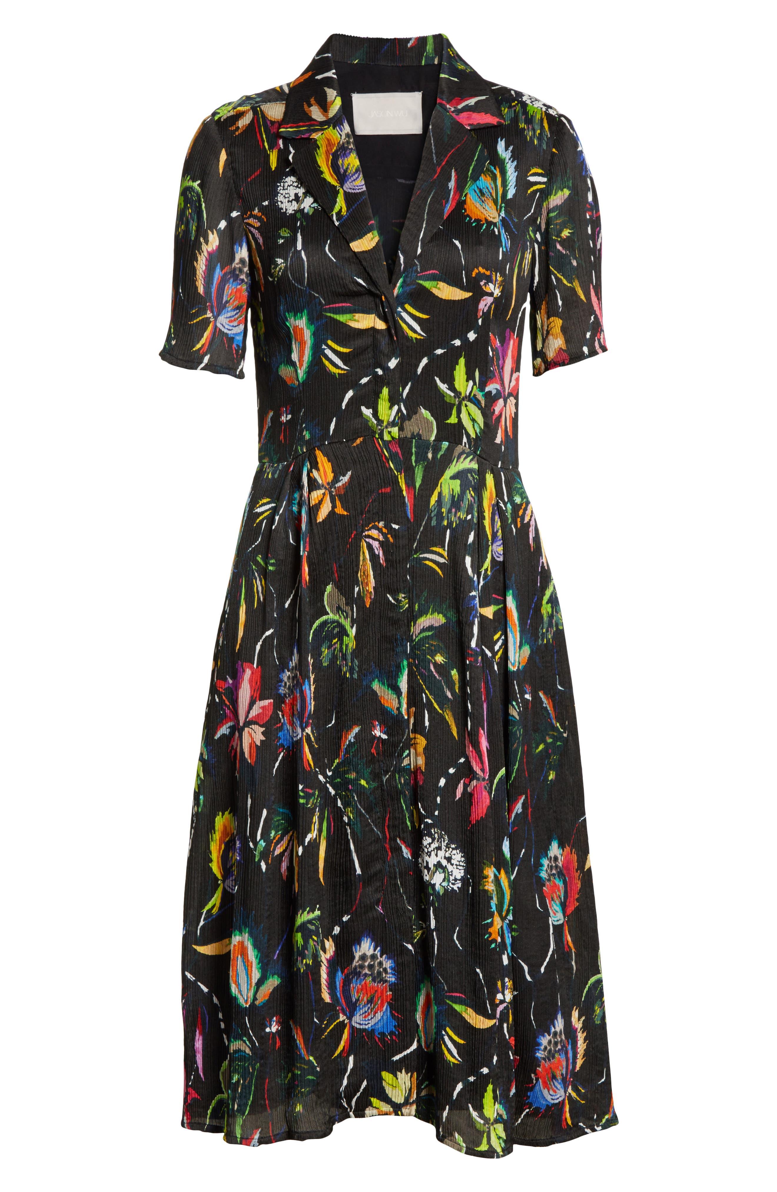 Alternate Image 6  - Jason Wu Floral Print Plissé Silk Crepon Dress