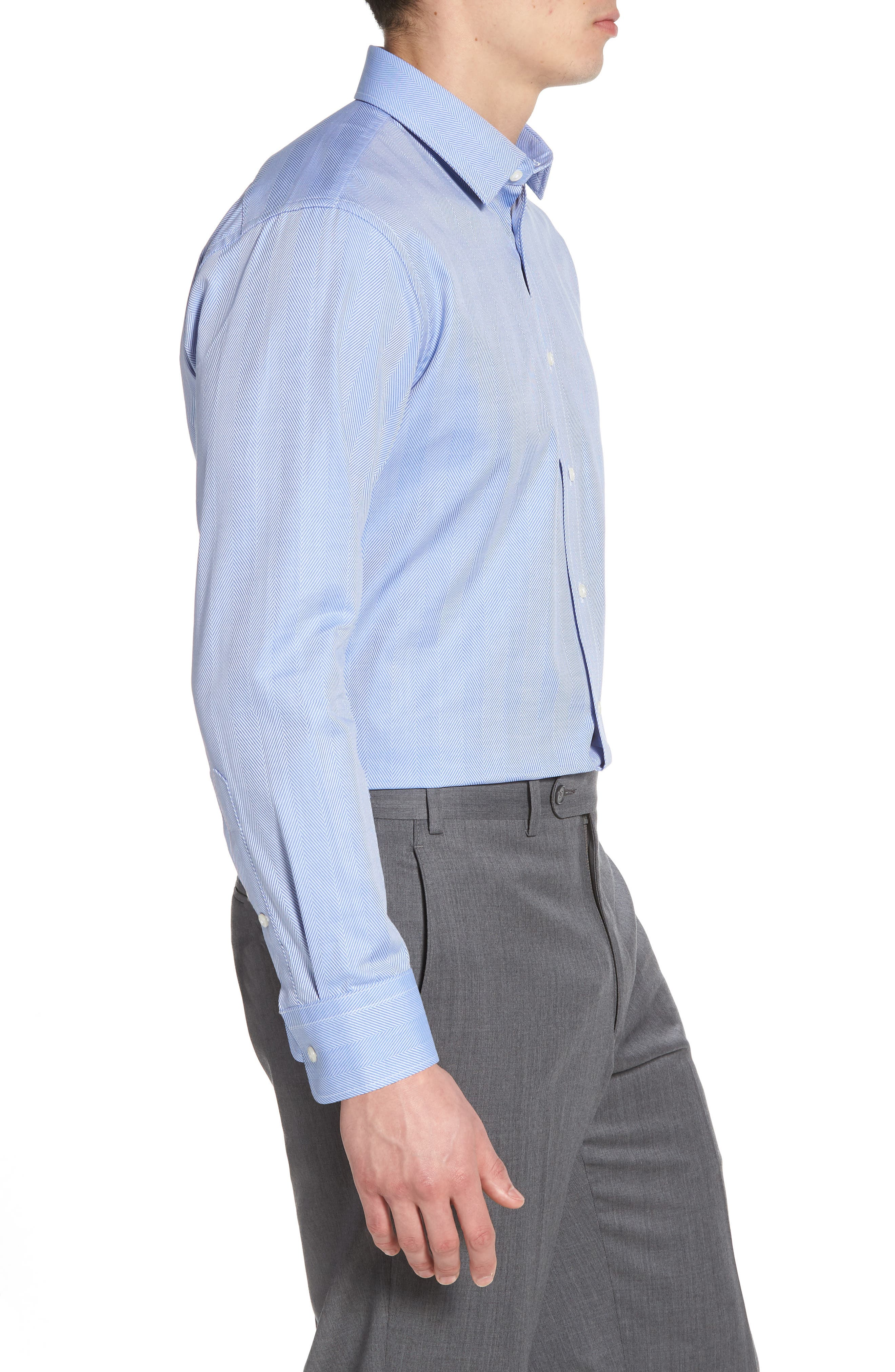 Trim Fit Herringbone Dress Shirt,                             Alternate thumbnail 4, color,                             Blue Provence