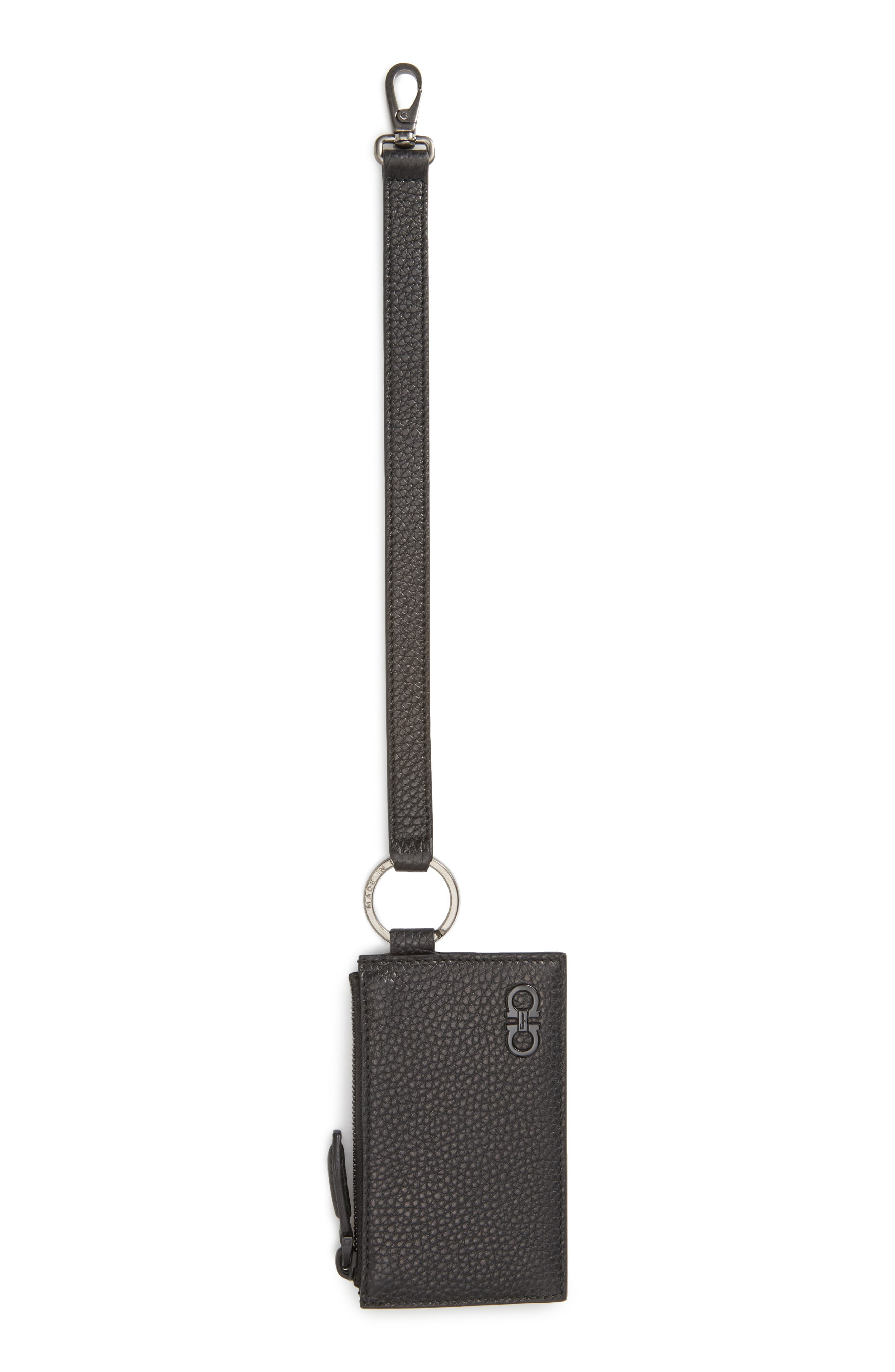 Main Image - Salvatore Ferragamo Leather Zip Wallet with Strap