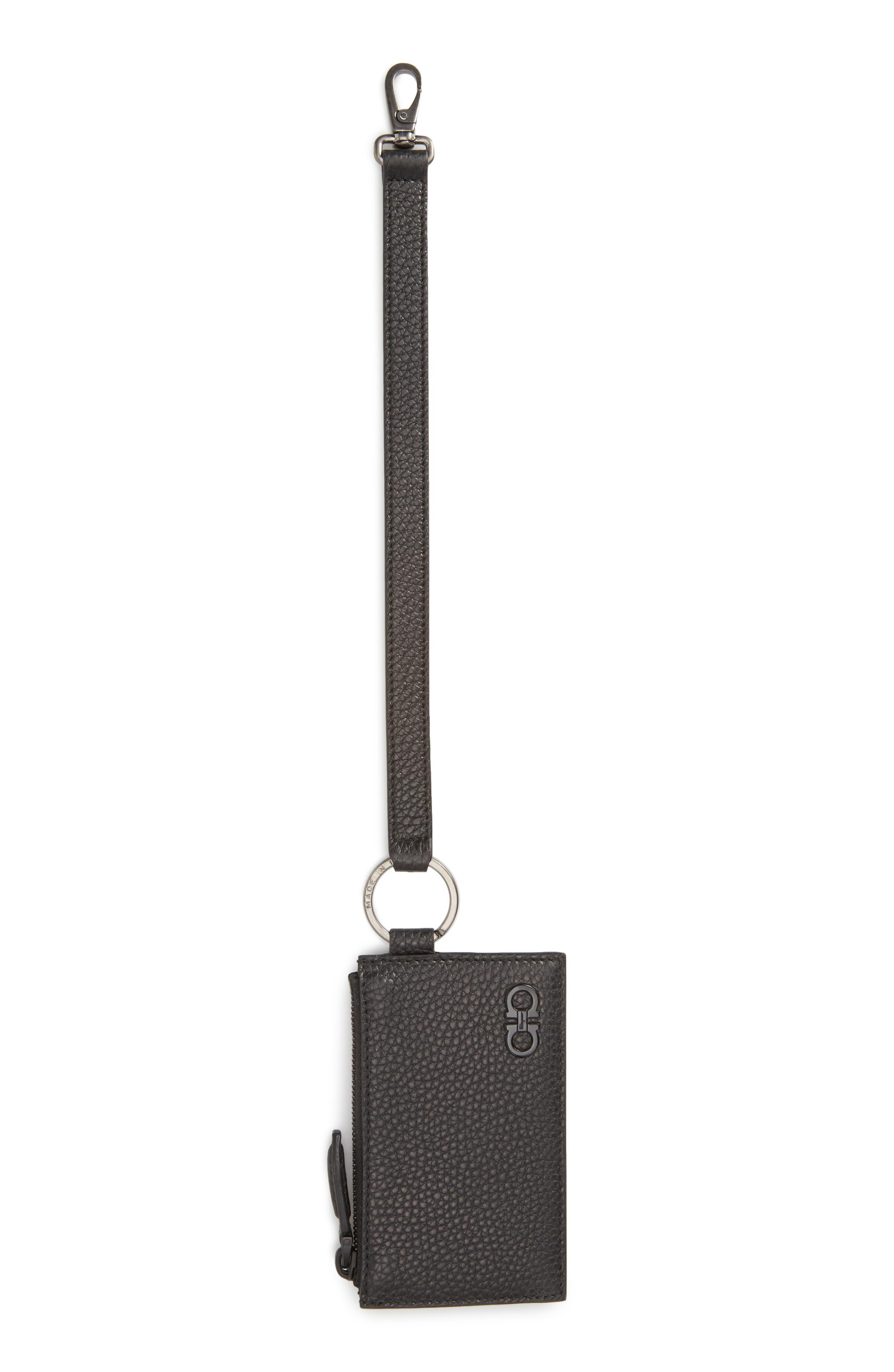 Salvatore Ferragamo Leather Zip Wallet with Strap