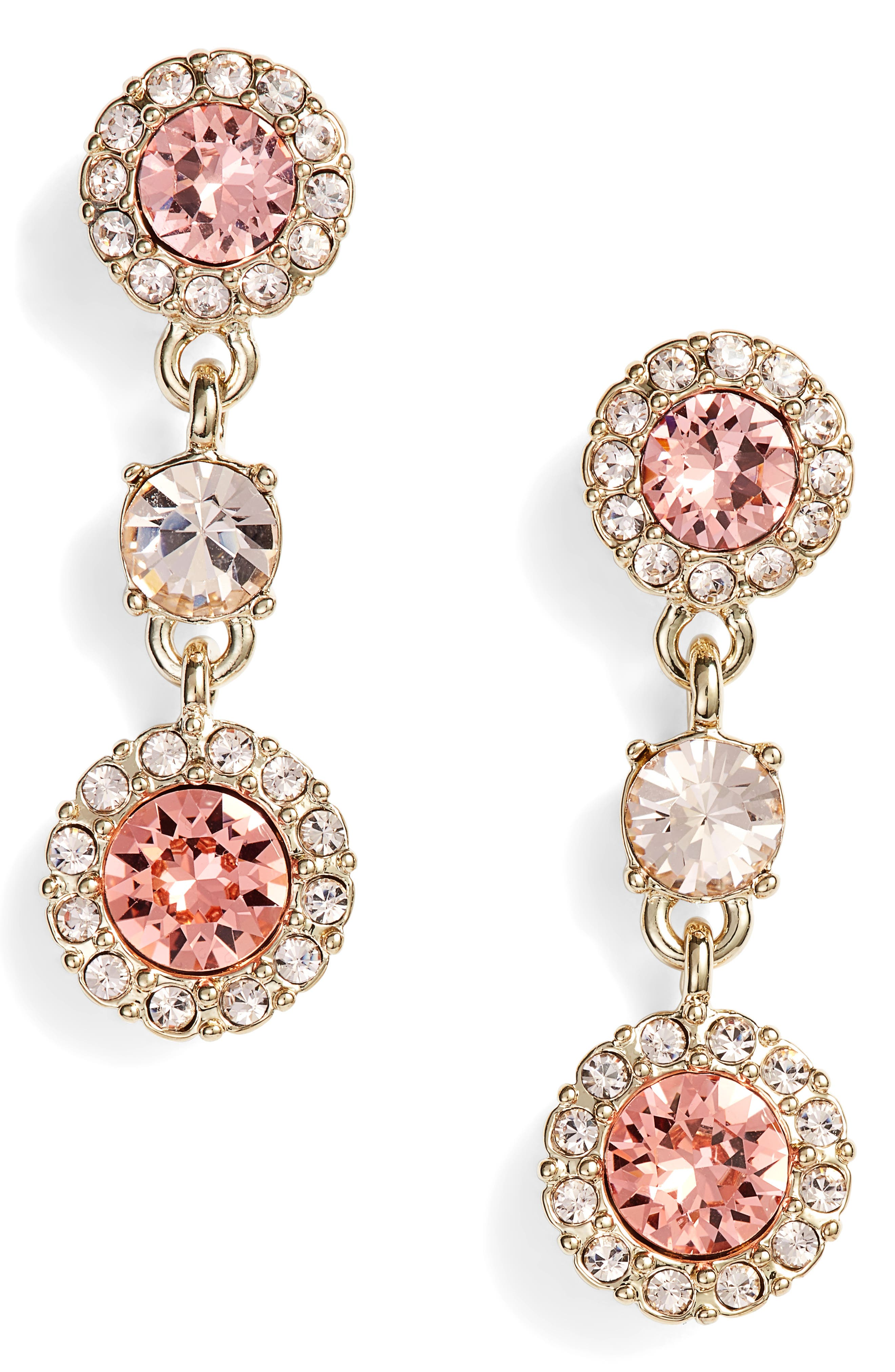 Givenchy Swarovski Crystal Triple Drop Earrings
