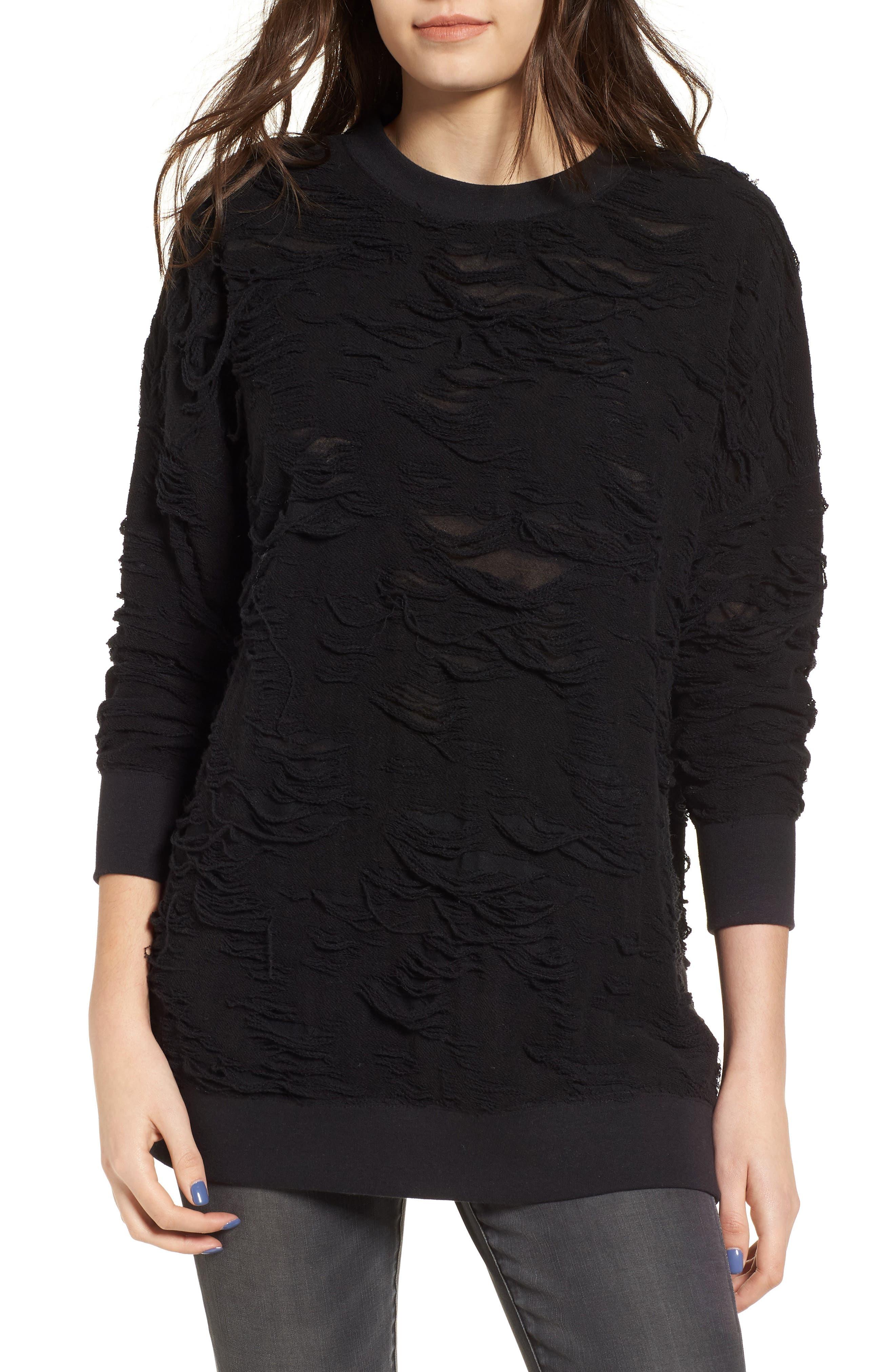 Me Too Slashed Sweatshirt,                             Main thumbnail 1, color,                             Black