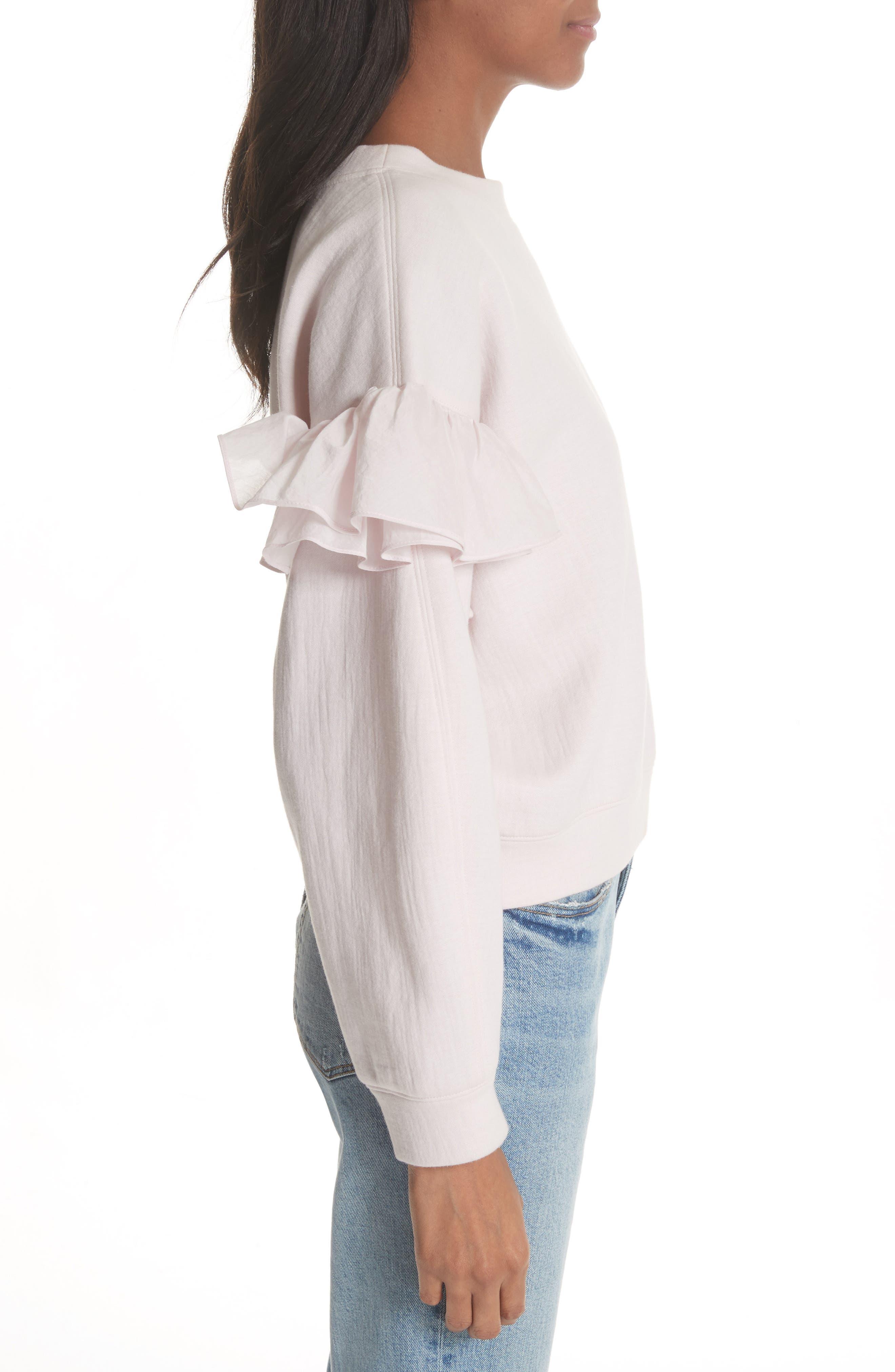 Ruffle Sleeve Sweatshirt,                             Alternate thumbnail 3, color,                             Candy Floss