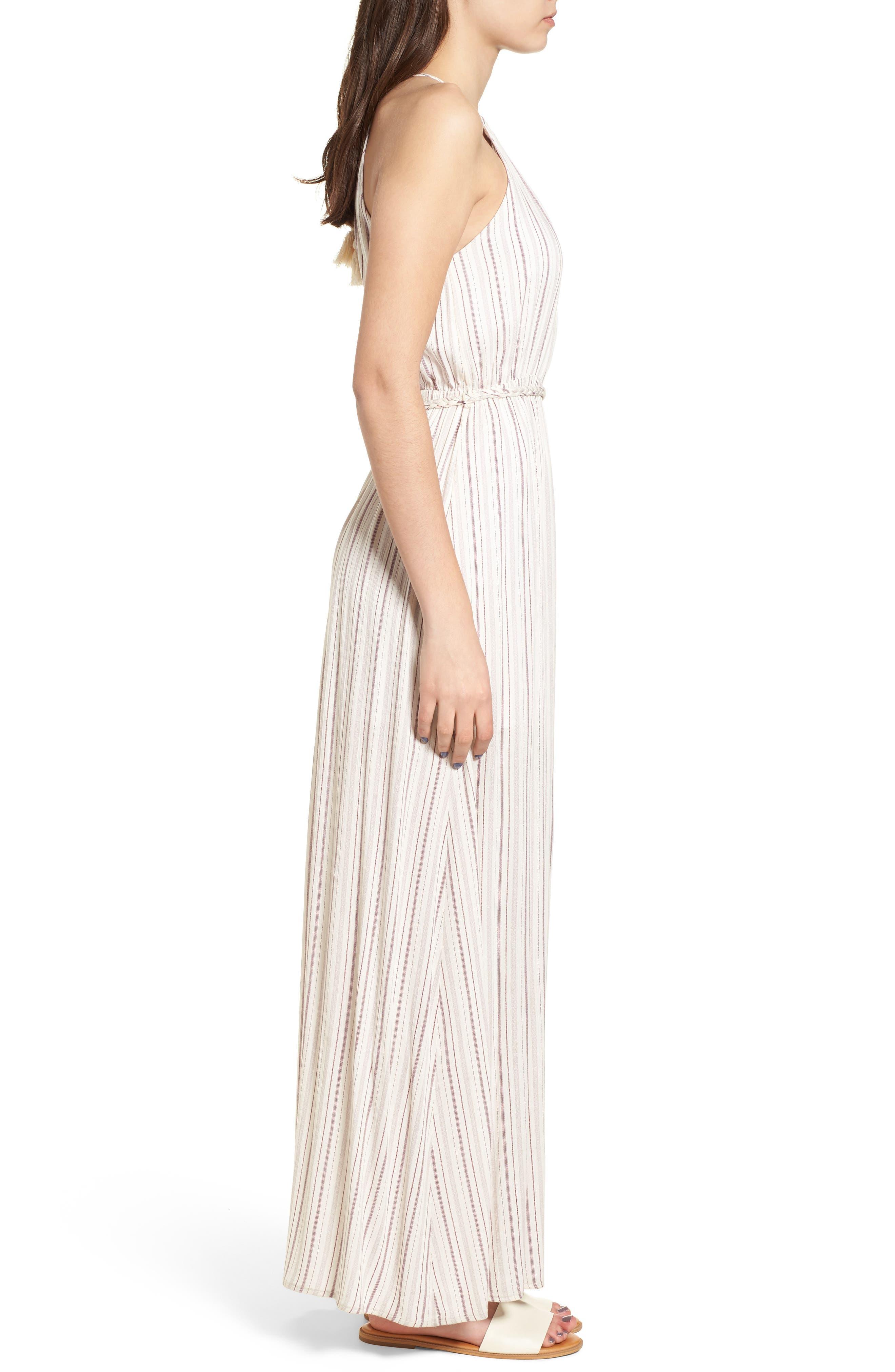 Daydreamer Stripe Maxi Dress,                             Alternate thumbnail 3, color,                             Ivory/ Mauve