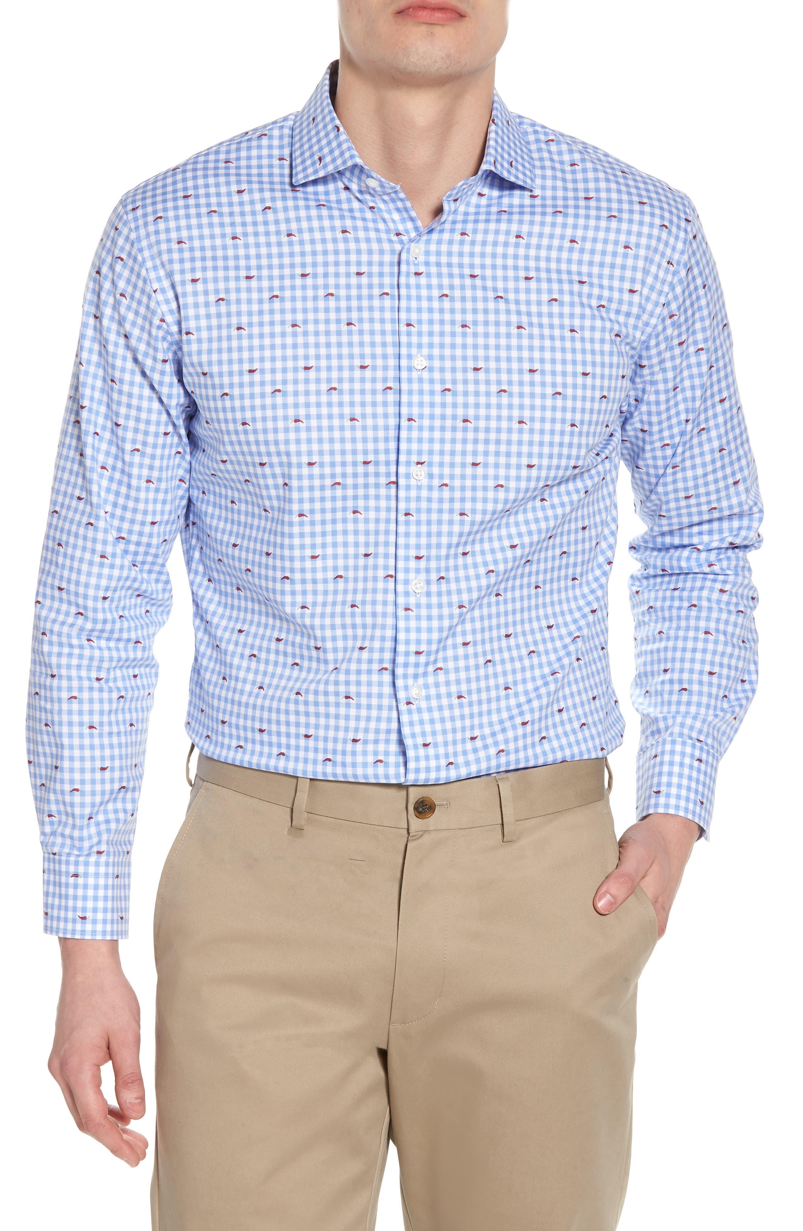 Nordstrom Men's Shop Trim Fit Gingham Chili Pepper Dress Shirt