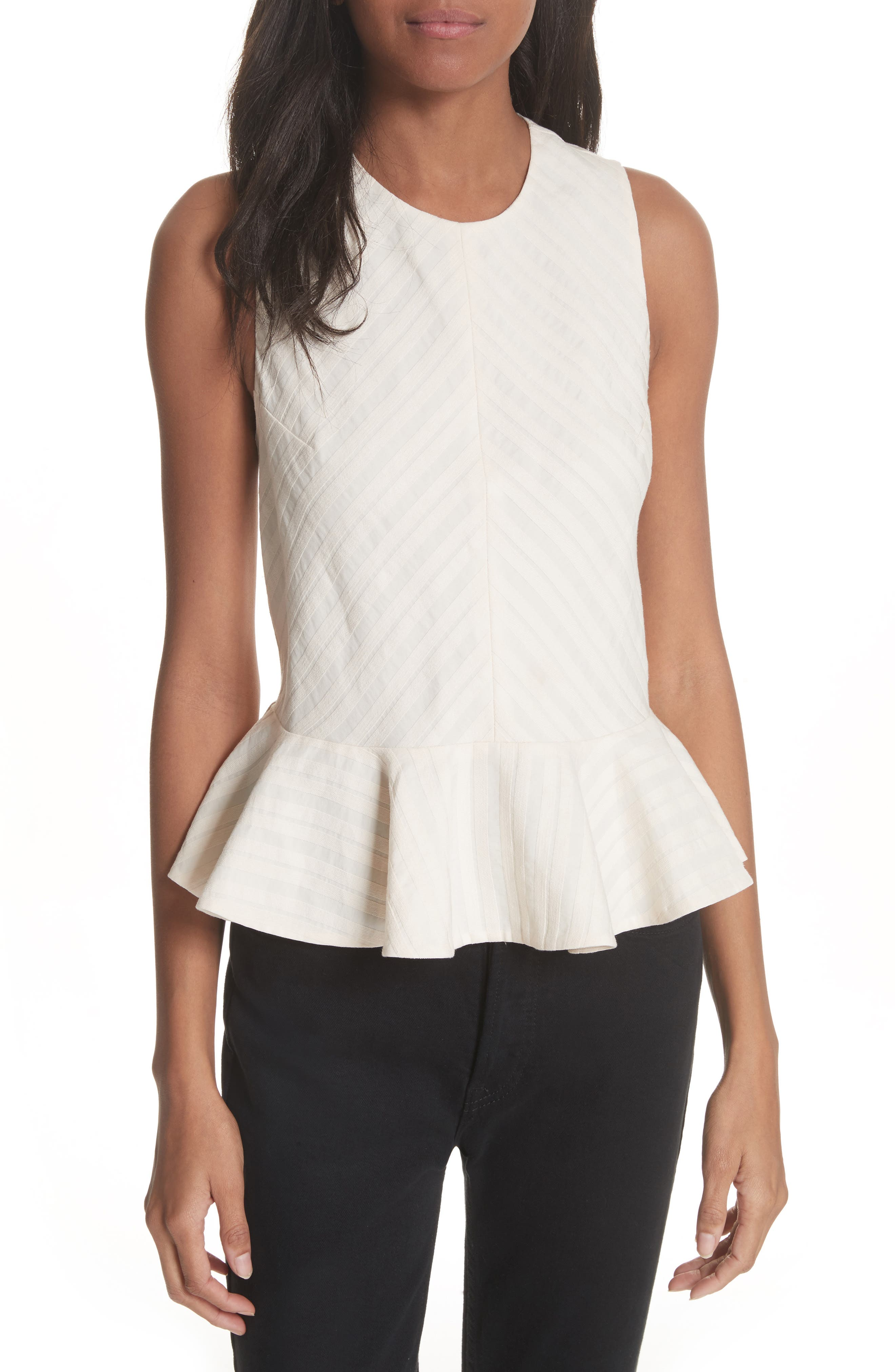 Textured Stripe Peplum Top,                             Main thumbnail 1, color,                             Creme Brulee