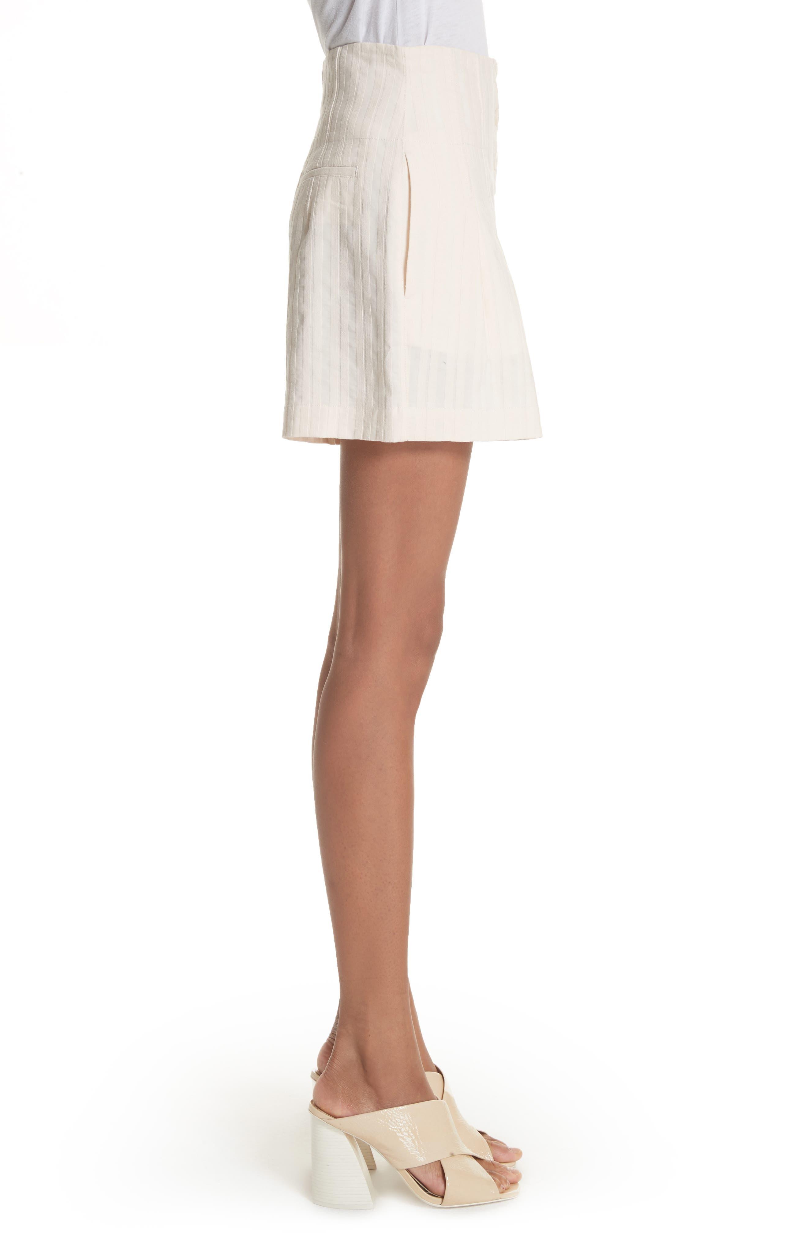 Textured Stripe Shorts,                             Alternate thumbnail 3, color,                             Creme Brulee