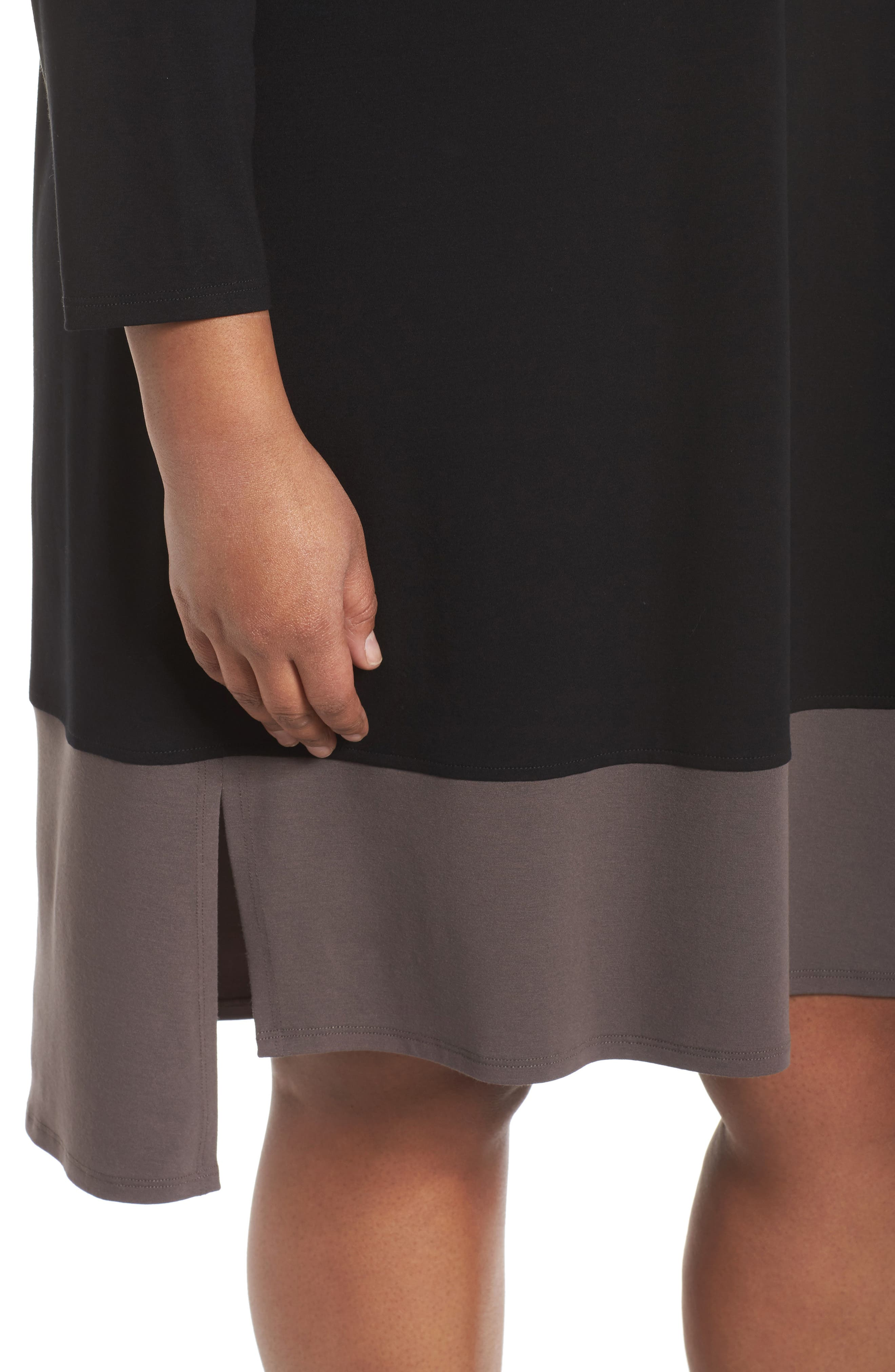 Colorblock Jersey Shift Dress,                             Alternate thumbnail 4, color,                             Black