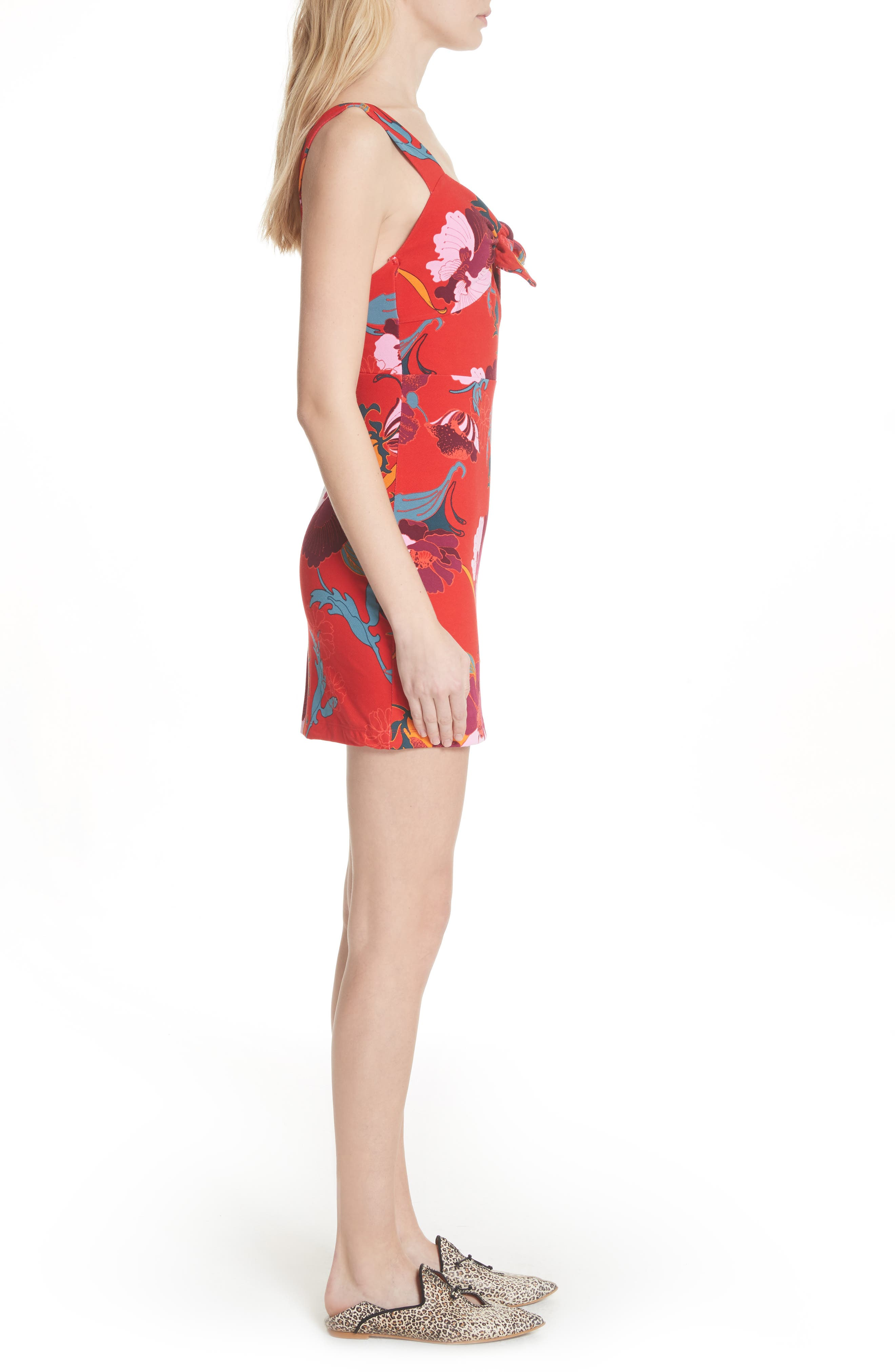 Sweet Cherry Front Tie Minidress,                             Alternate thumbnail 3, color,                             Red