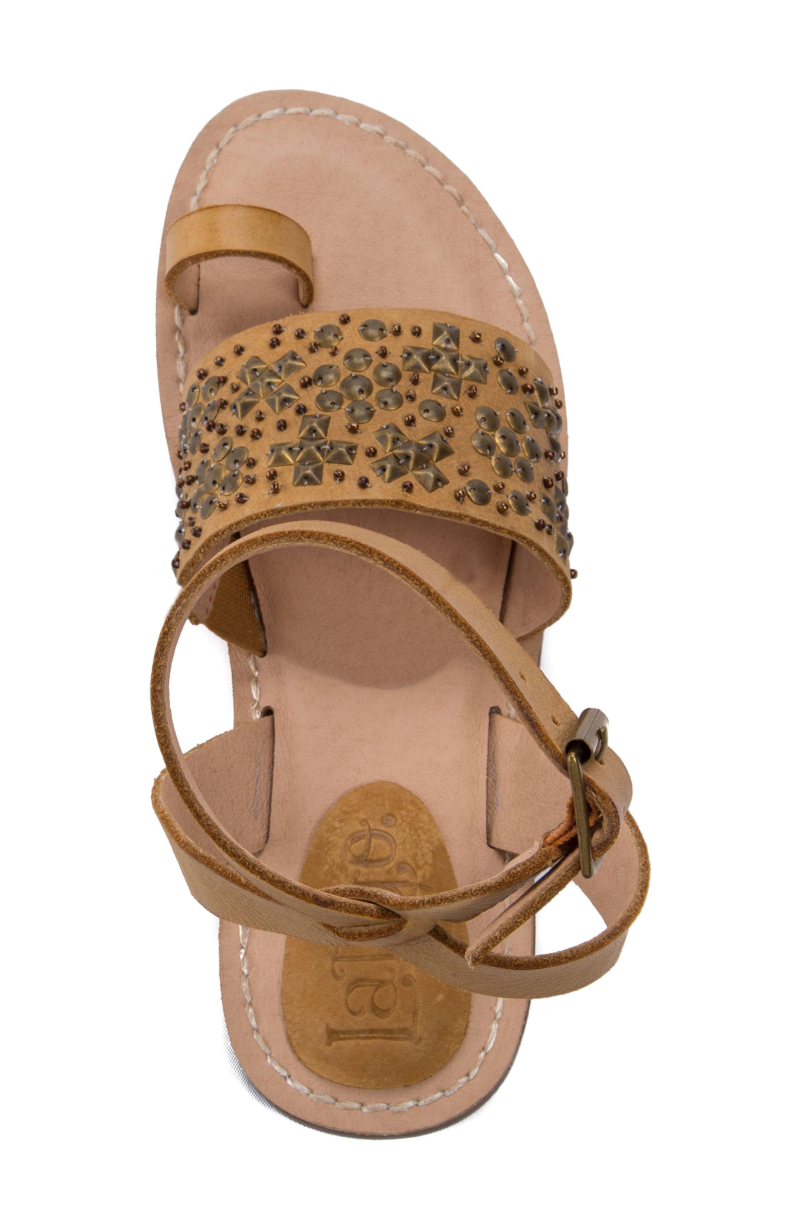 Vera Embellished Sandal,                             Alternate thumbnail 5, color,                             Dark Natural Leather