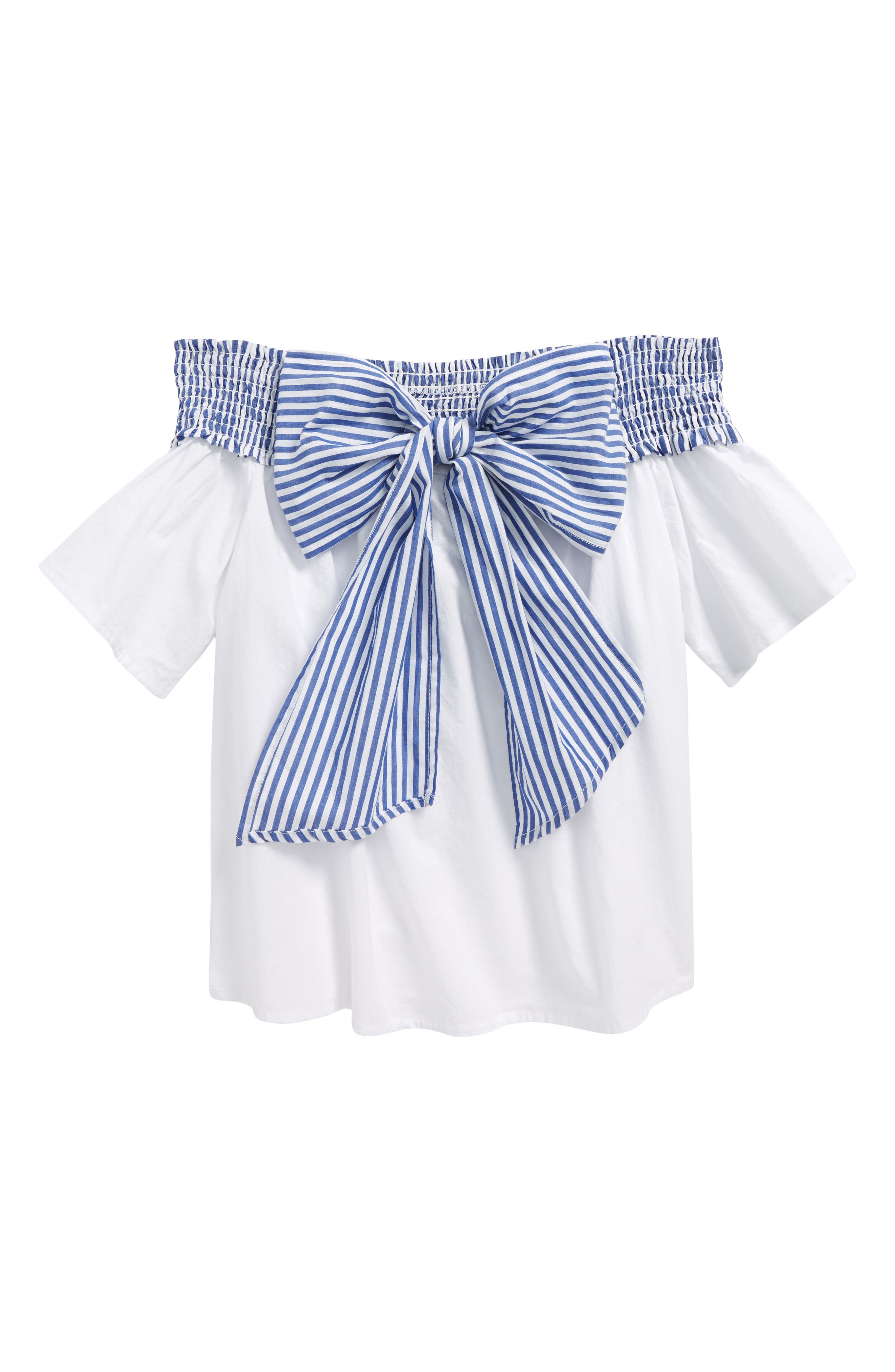 Off the Shoulder Bow Top,                         Main,                         color, White