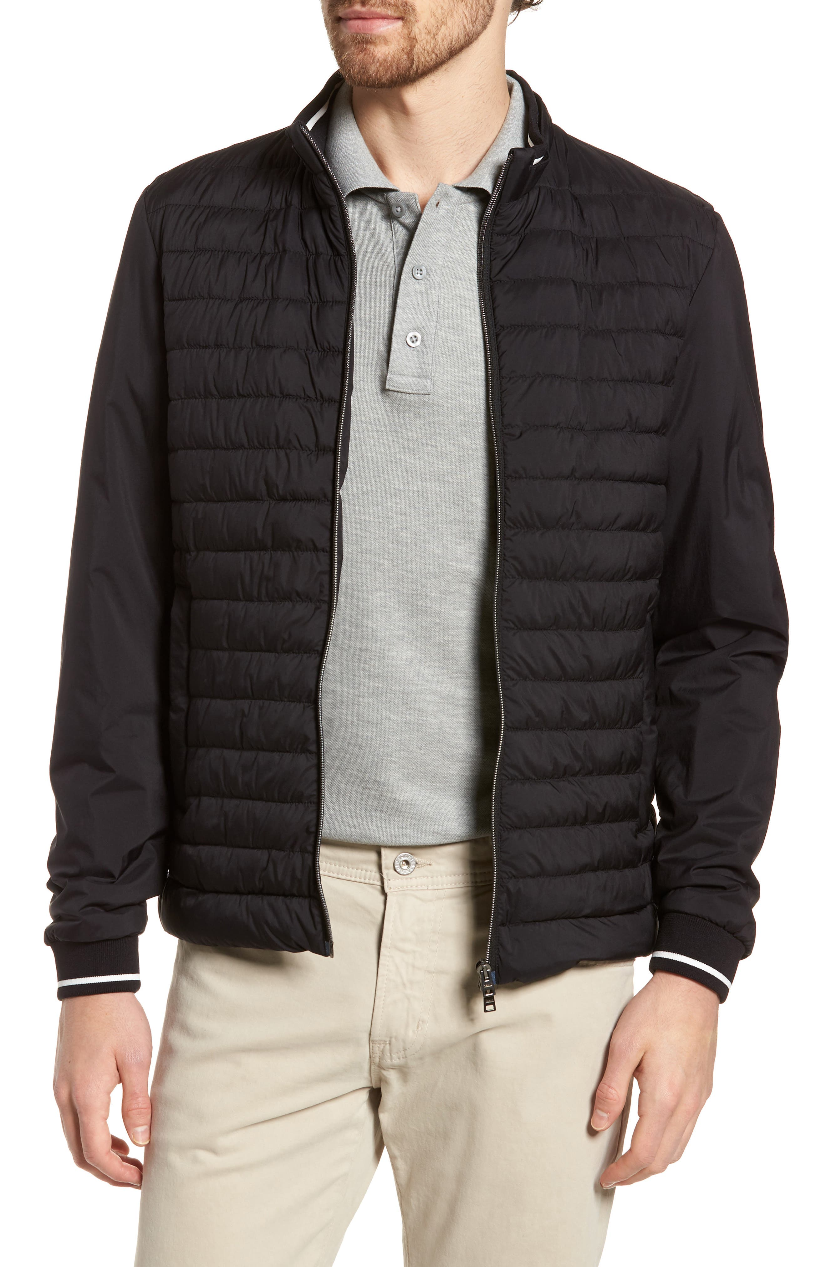 Tipped Quilted Jacket,                             Main thumbnail 1, color,                             Black