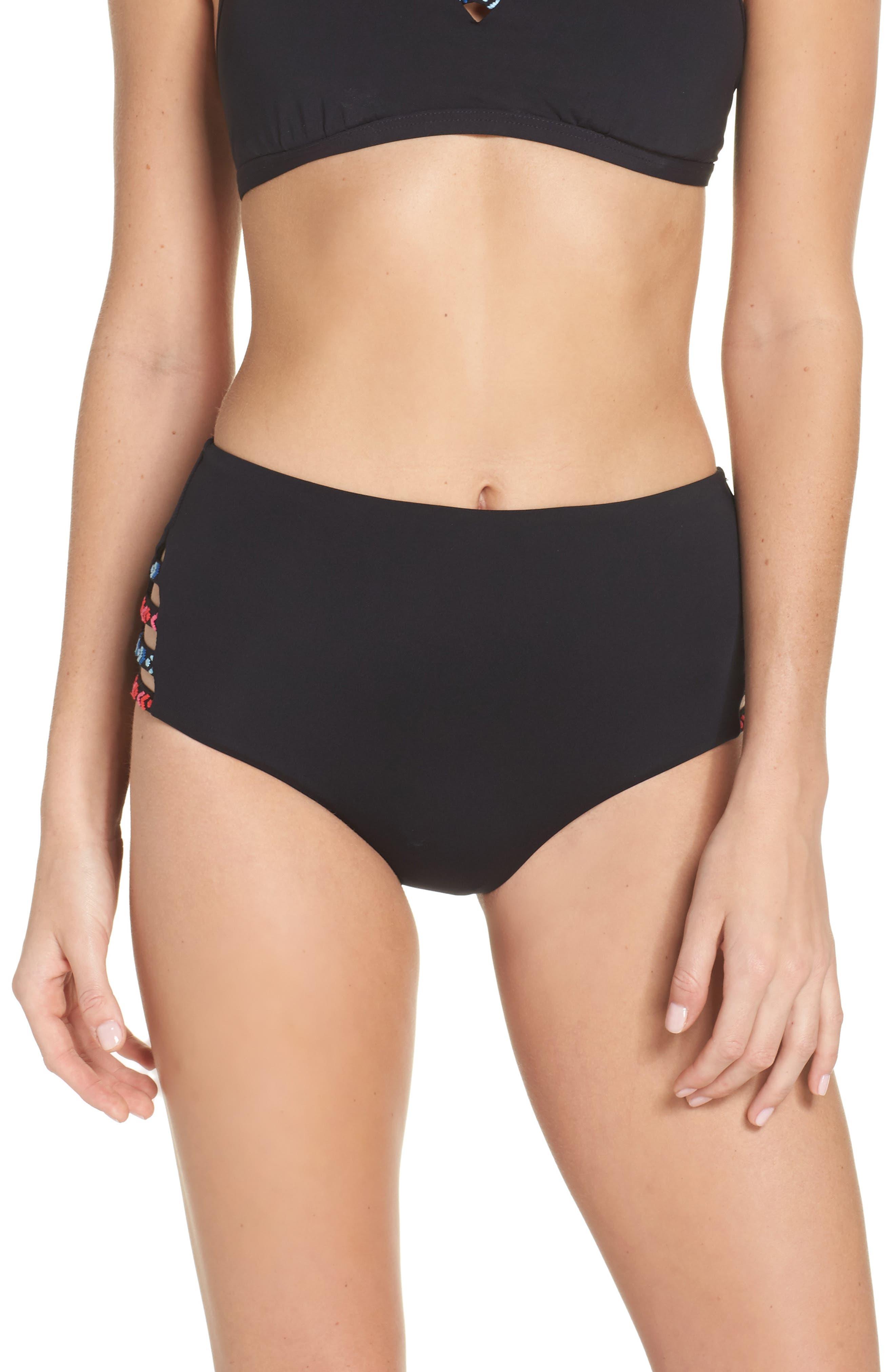 Desert Tribe High Waist Bikini Bottoms,                             Main thumbnail 1, color,                             Black