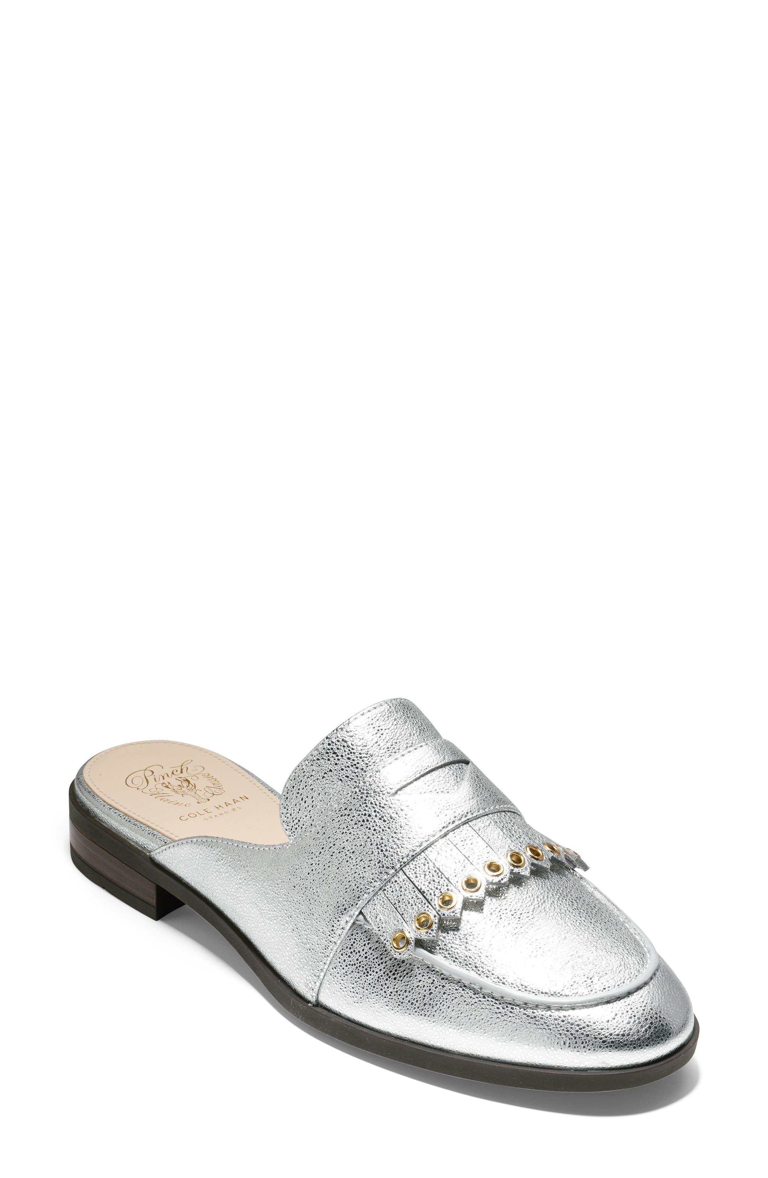 Pinch Kiltie Mule,                         Main,                         color, Silver Leather
