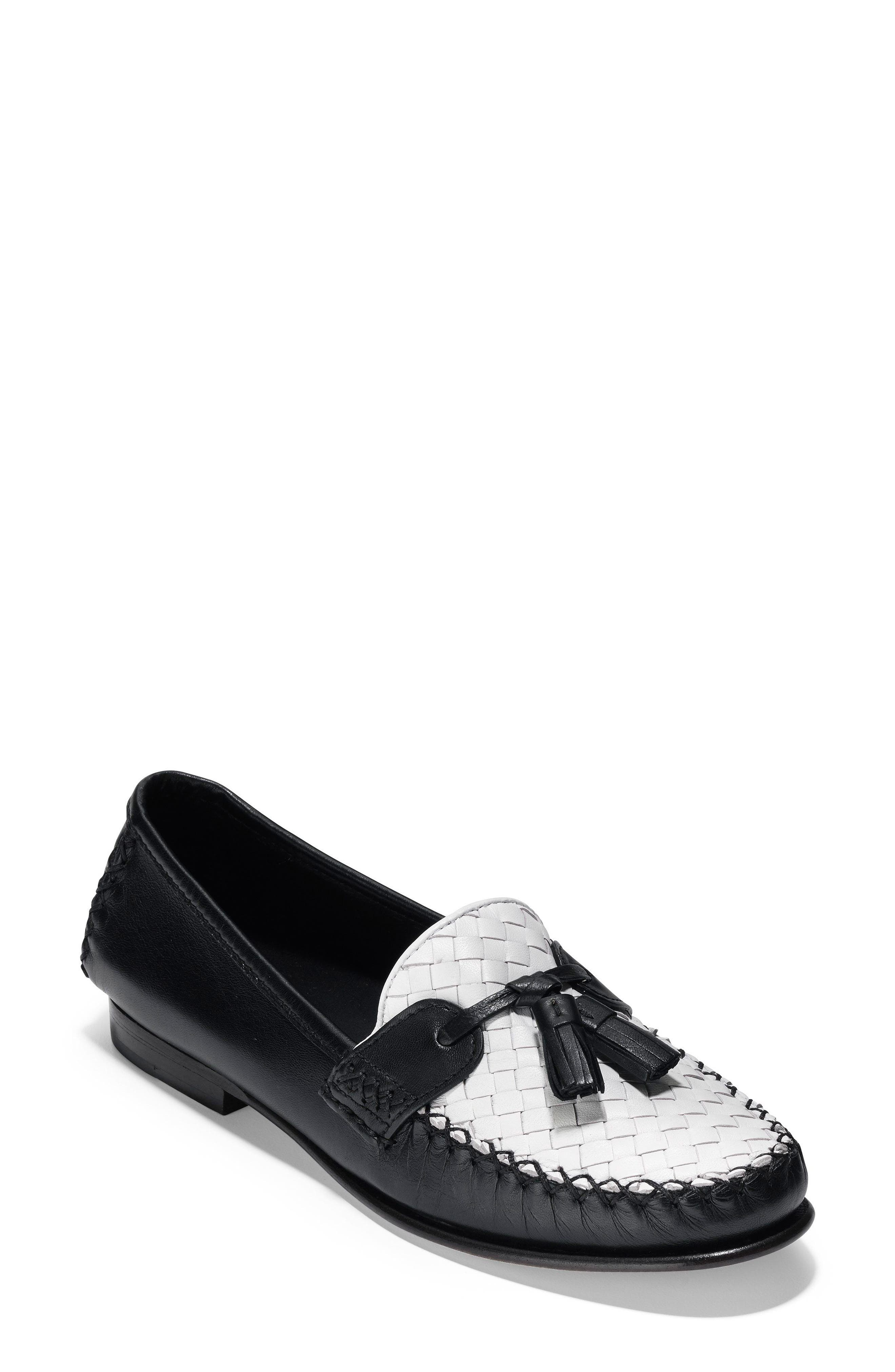 Jagger Loafer,                             Main thumbnail 1, color,                             Black/ White Leather