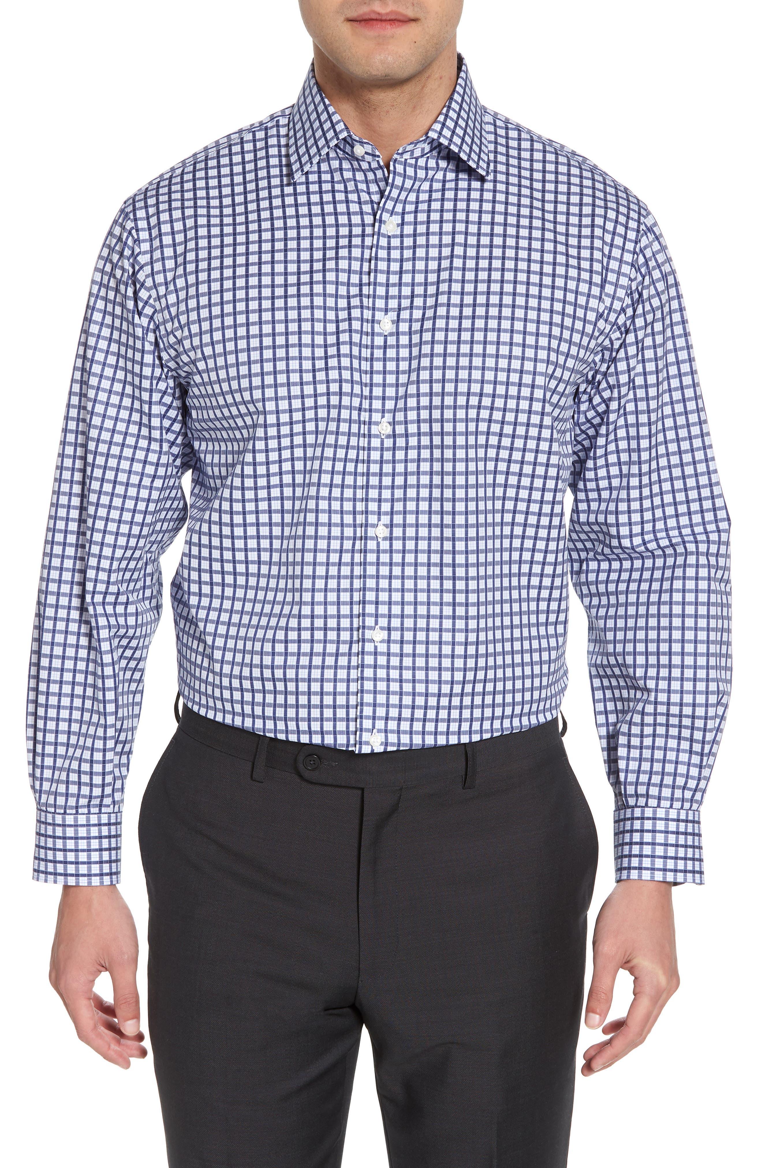 Classic Fit Check Dress Shirt,                         Main,                         color, Navy Ribbon