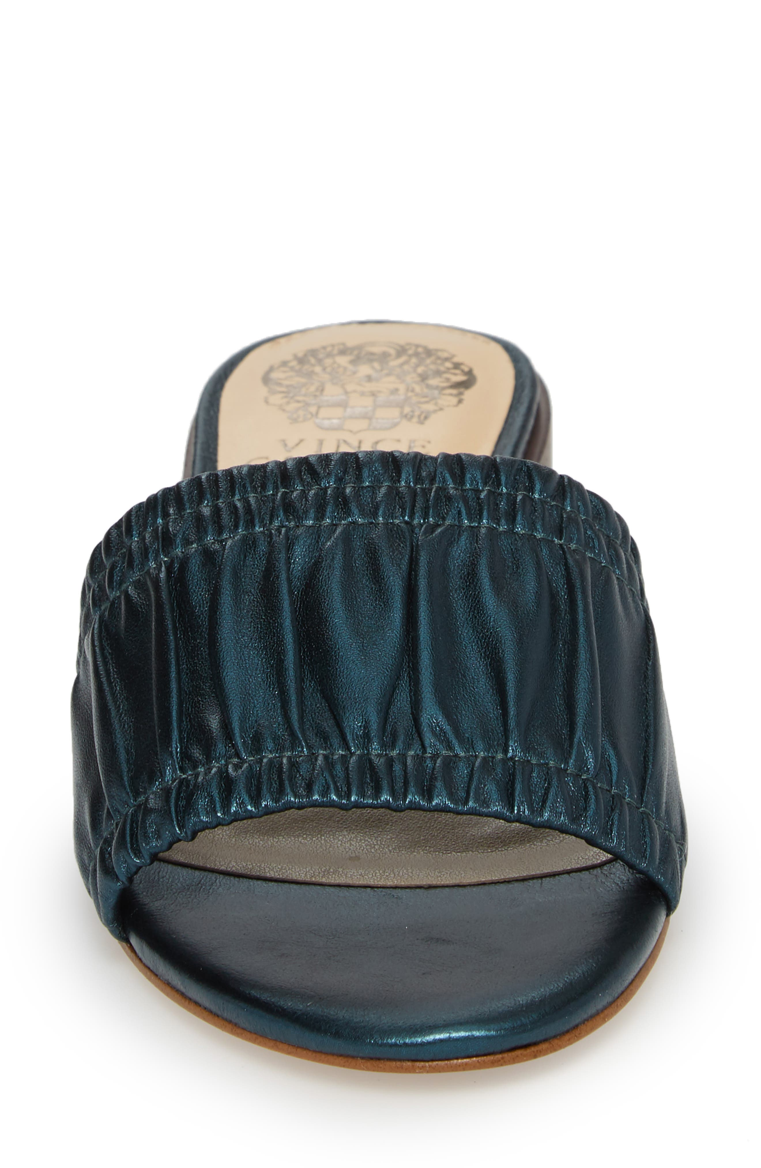 Nanita Pleated Slide Sandal,                             Alternate thumbnail 4, color,                             Metal Teal Fabric
