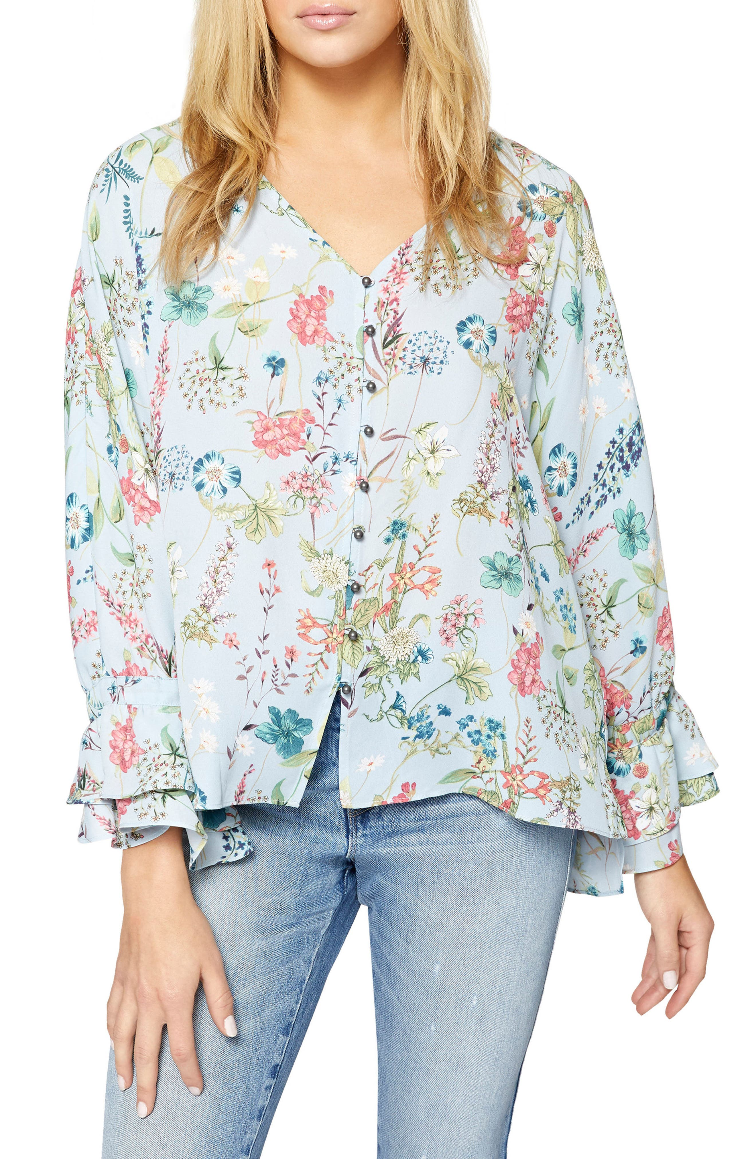 Posey Floral Blouse,                         Main,                         color, Bluebell