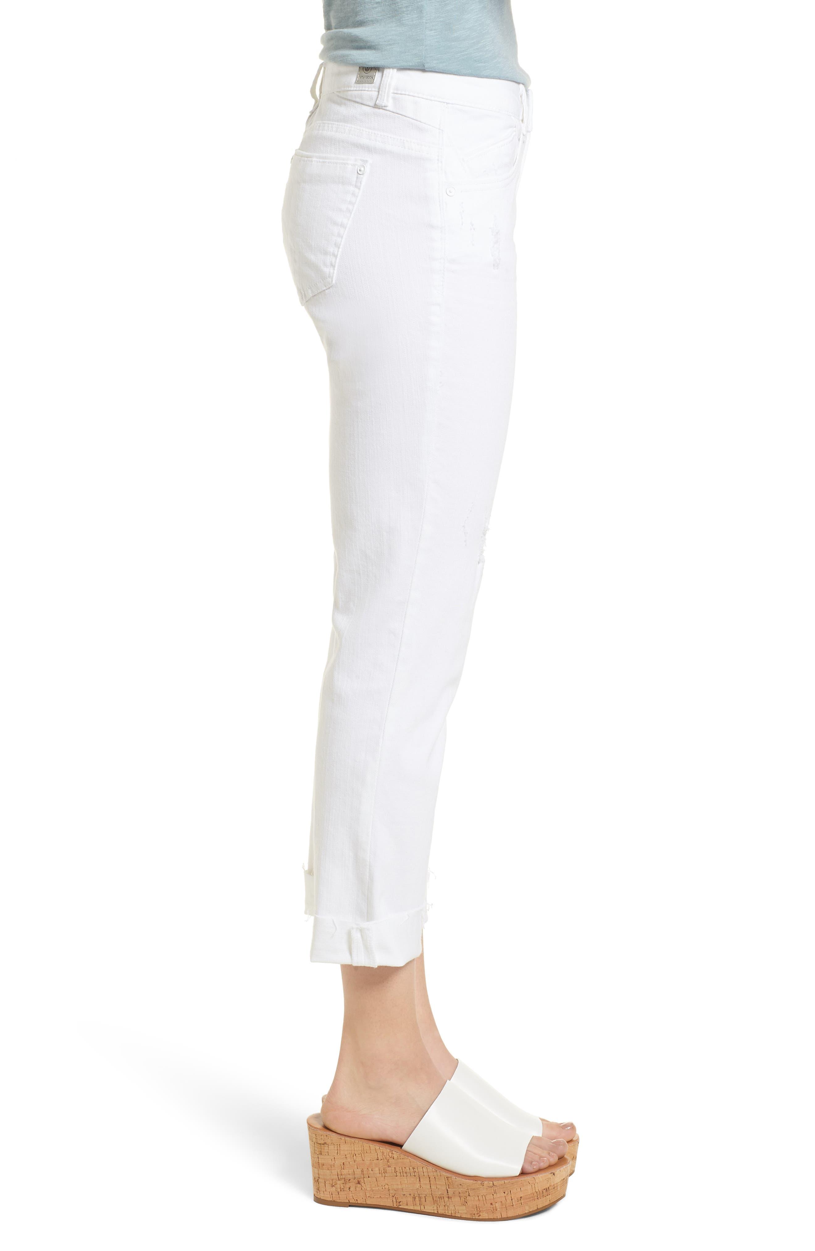 Flex-ellent Cuffed Boyfriend Jeans,                             Alternate thumbnail 3, color,                             Optic White