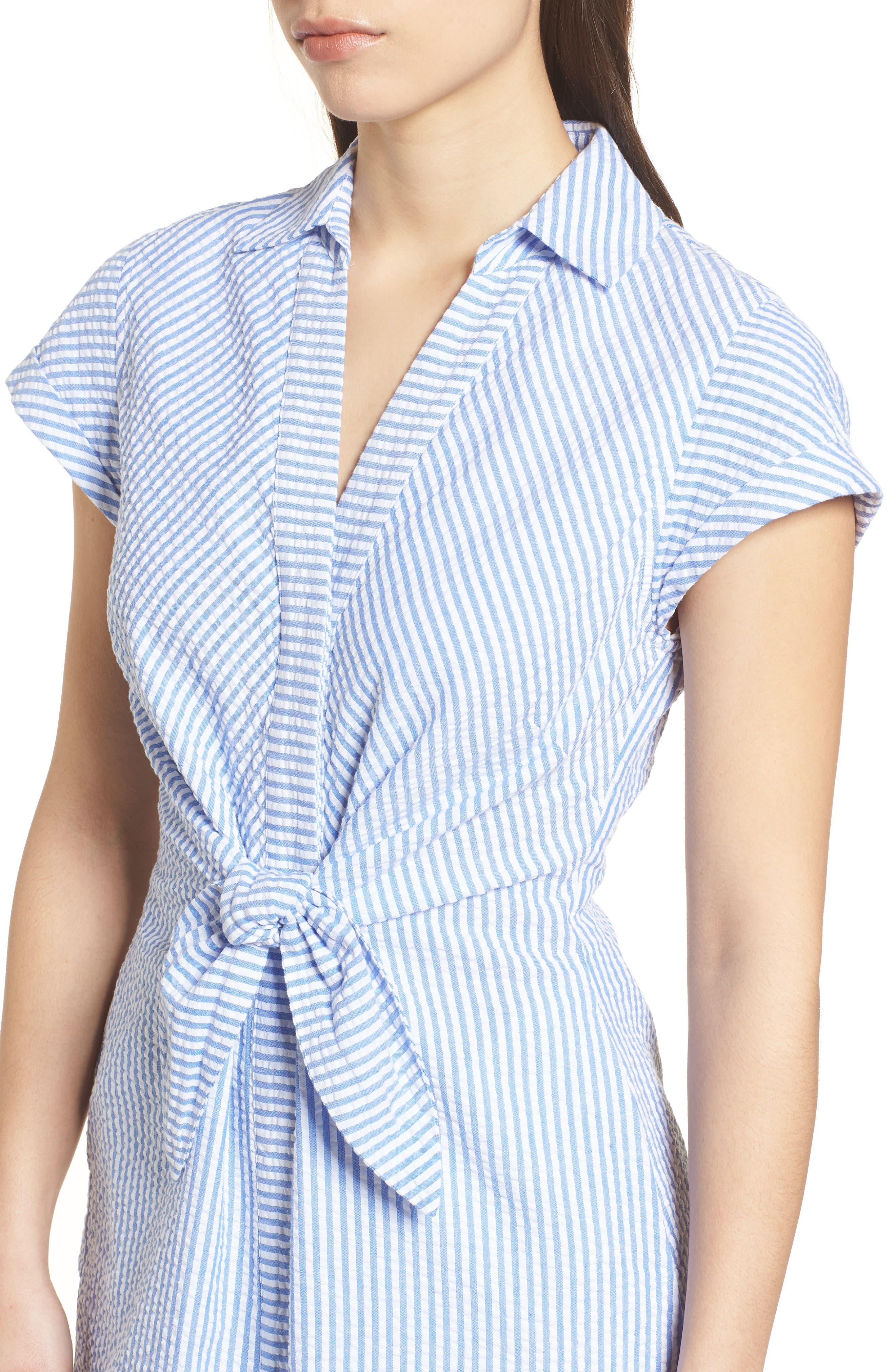 Tie Front Seersucker Shirtdress,                             Alternate thumbnail 4, color,                             Cornflower