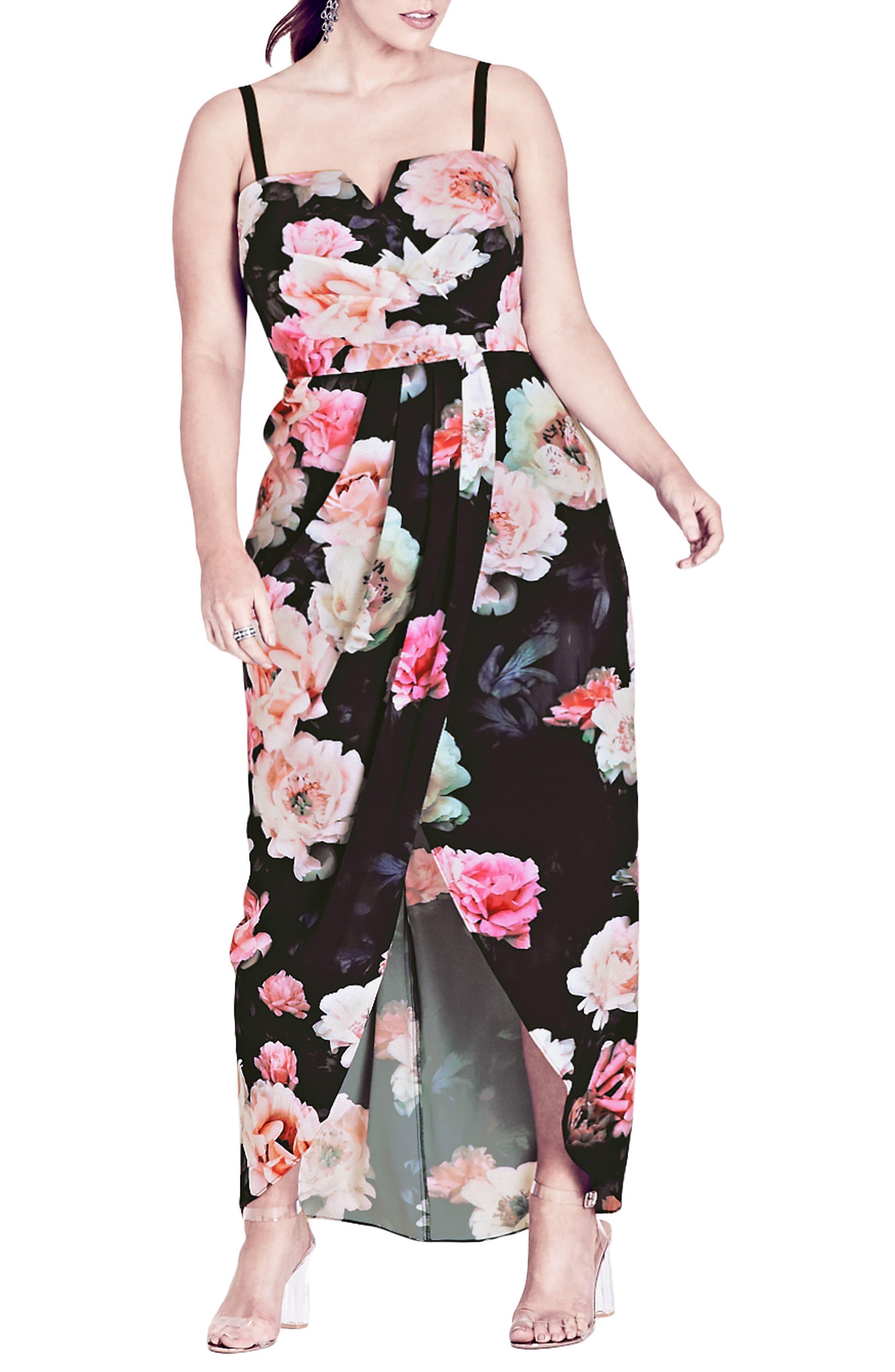 Wonderland Floral Maxi Dress,                             Main thumbnail 1, color,                             Pink Floral