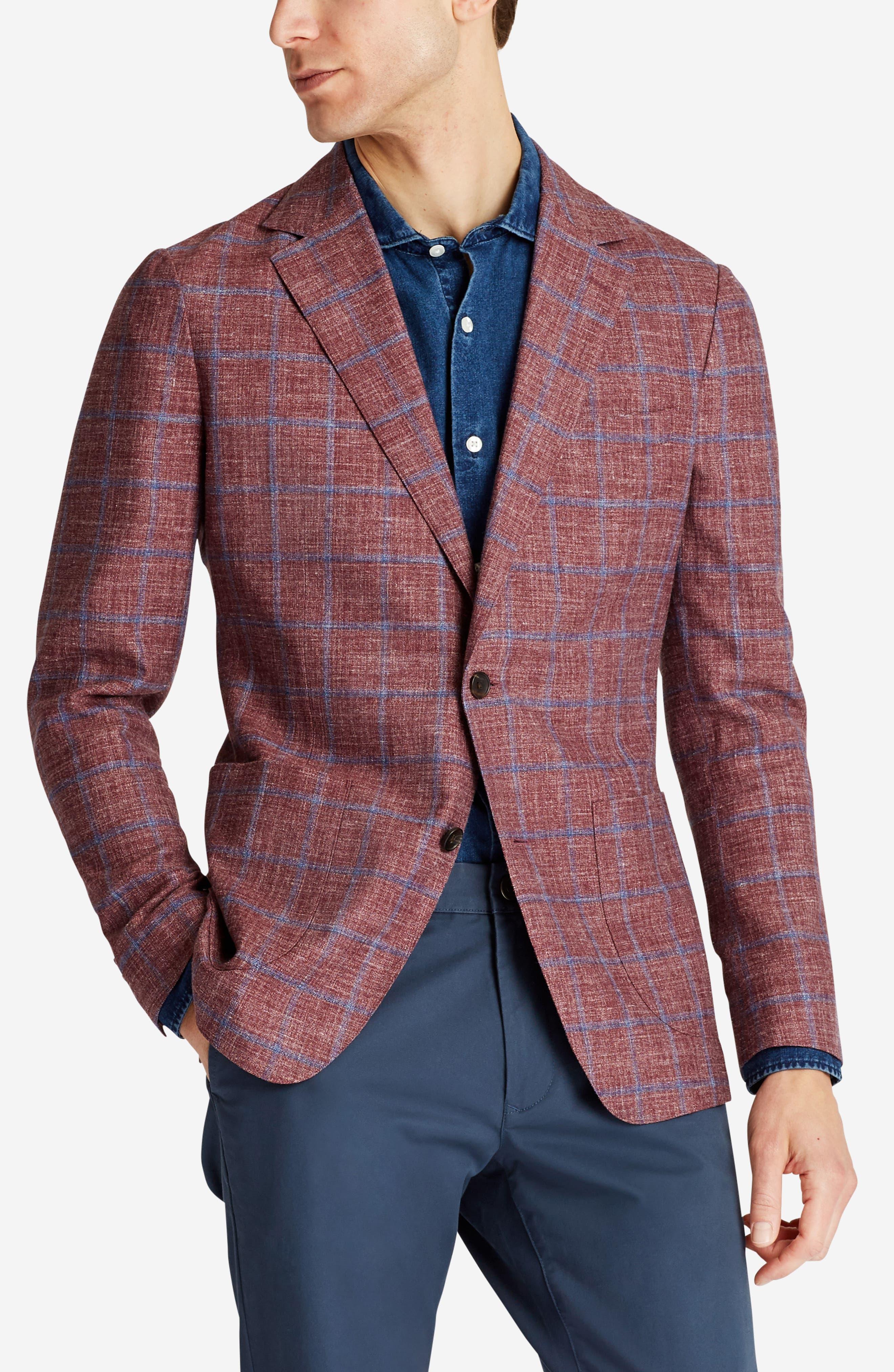 Capstone Slim Fit Windowpane Wool Blend Sport Coat,                             Alternate thumbnail 3, color,                             Red Plaid