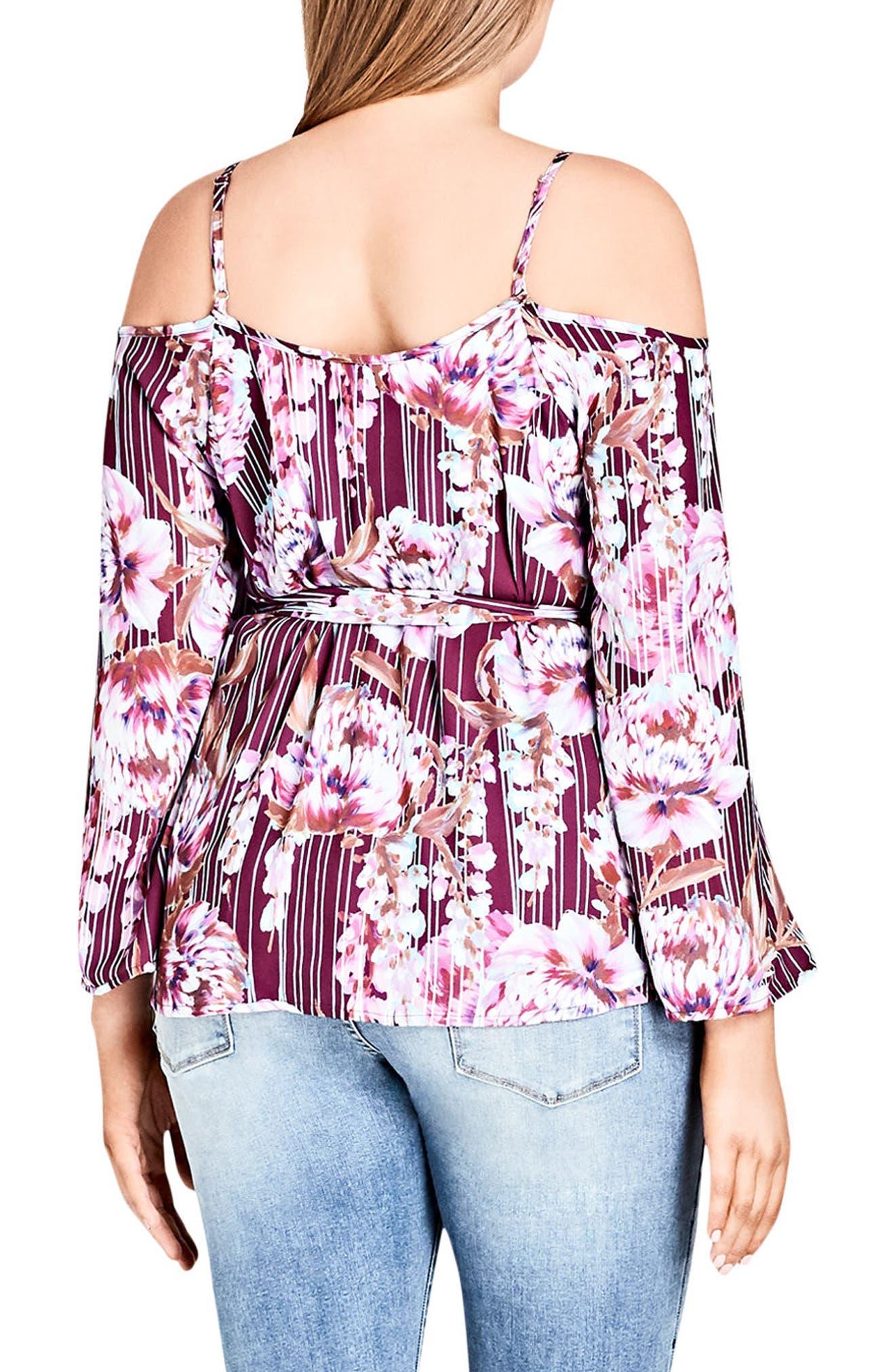 Alternate Image 2  - City Chic Arthouse Floral Tie Waist Cold Shoulder Top (Plus Size)