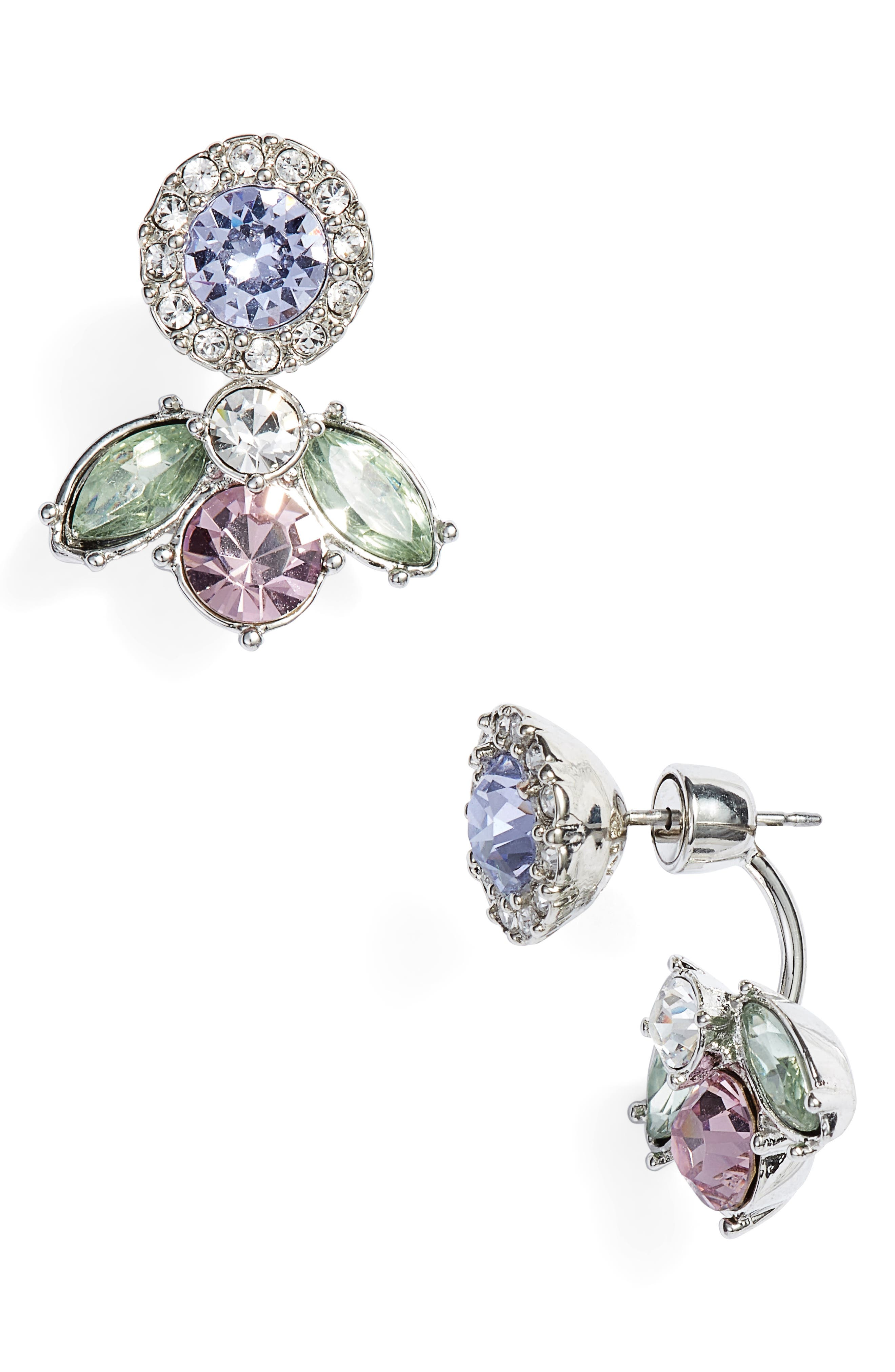 Pavé Floater Earrings,                             Main thumbnail 1, color,                             Rhodium/ Pastel Multi