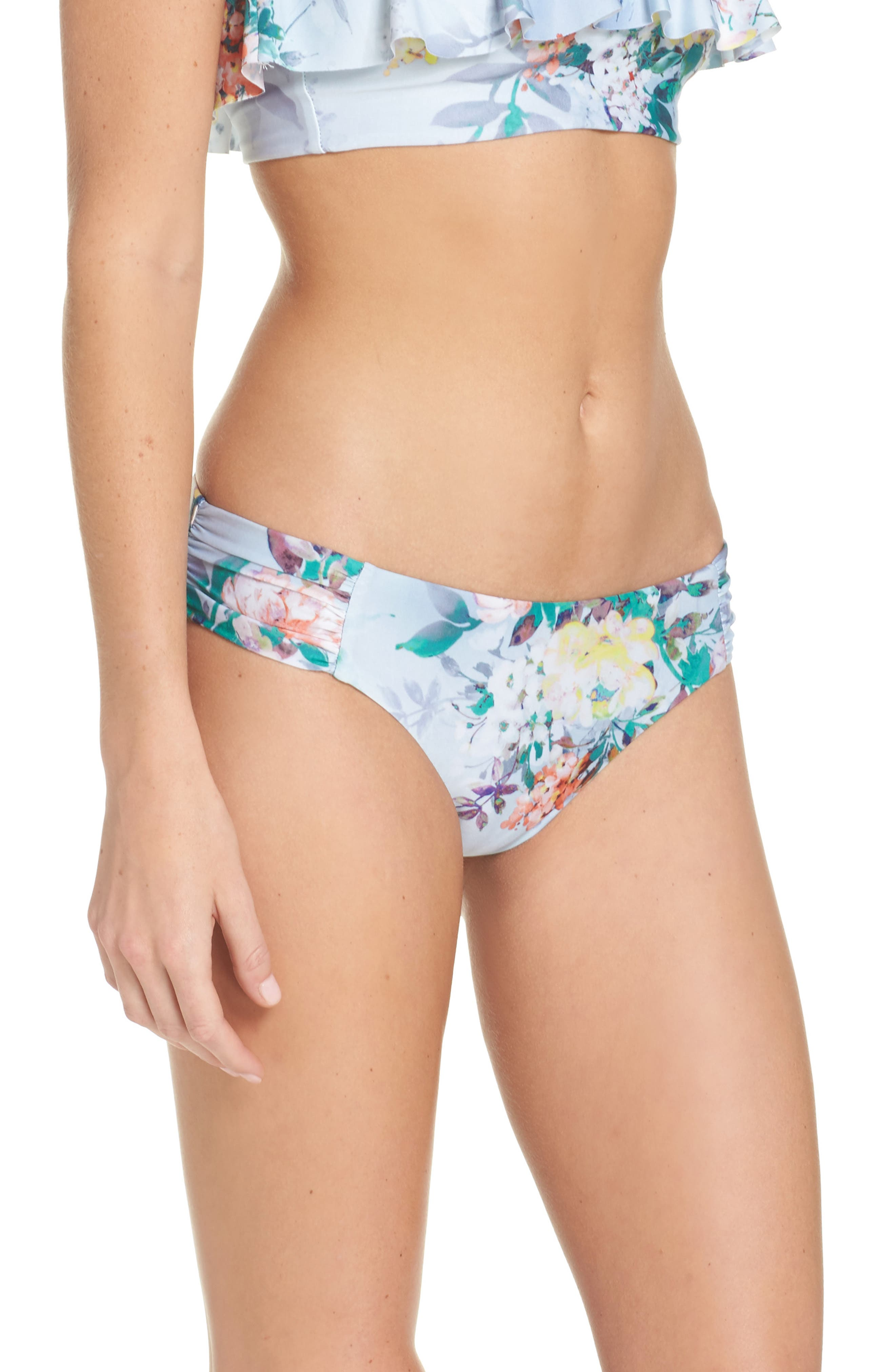 Femme Flora Hipster Bikini Bottoms,                             Alternate thumbnail 3, color,                             Blue Multi