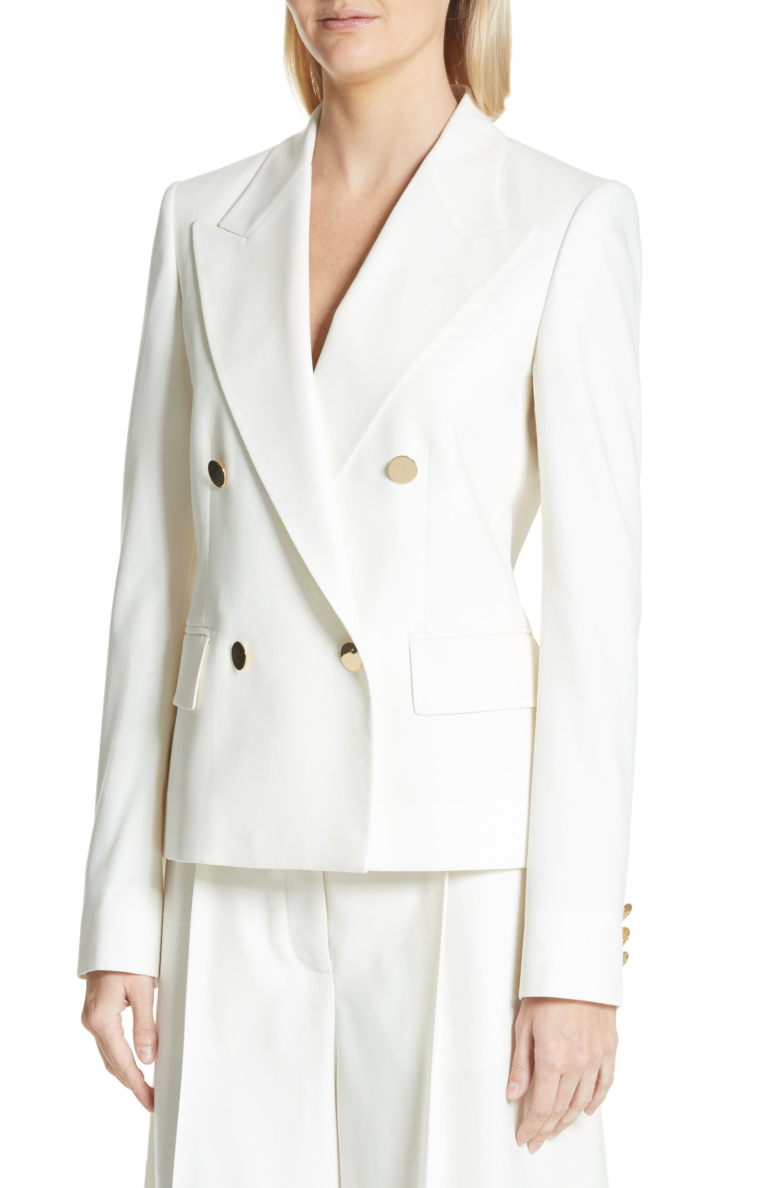 Summer Twill Double Breasted Blazer,                             Alternate thumbnail 4, color,                             Cream