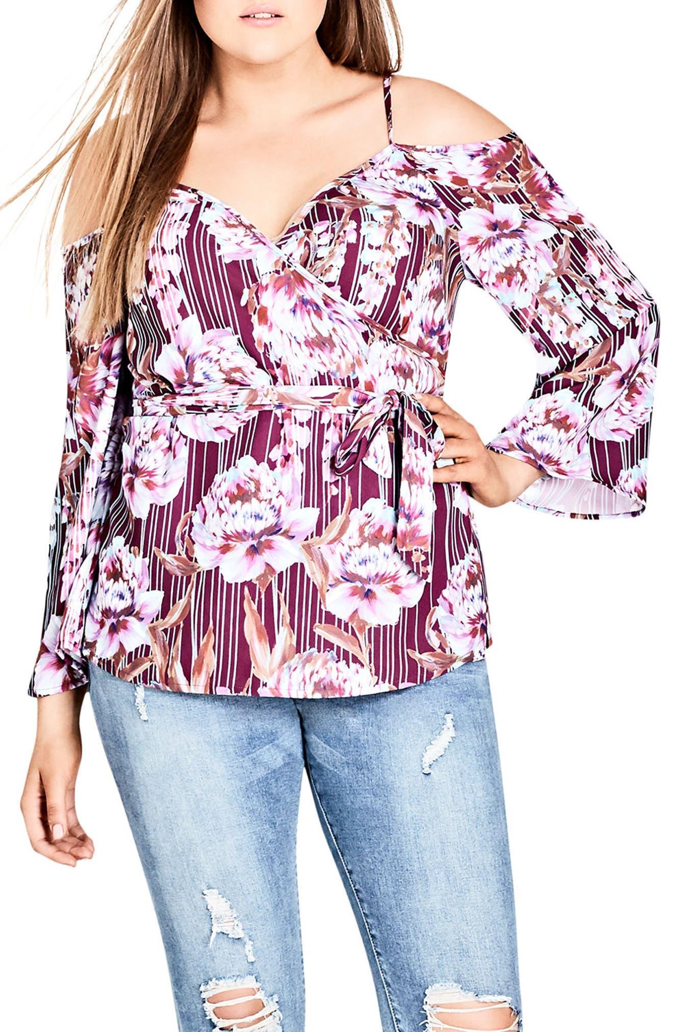 Main Image - City Chic Arthouse Floral Tie Waist Cold Shoulder Top (Plus Size)
