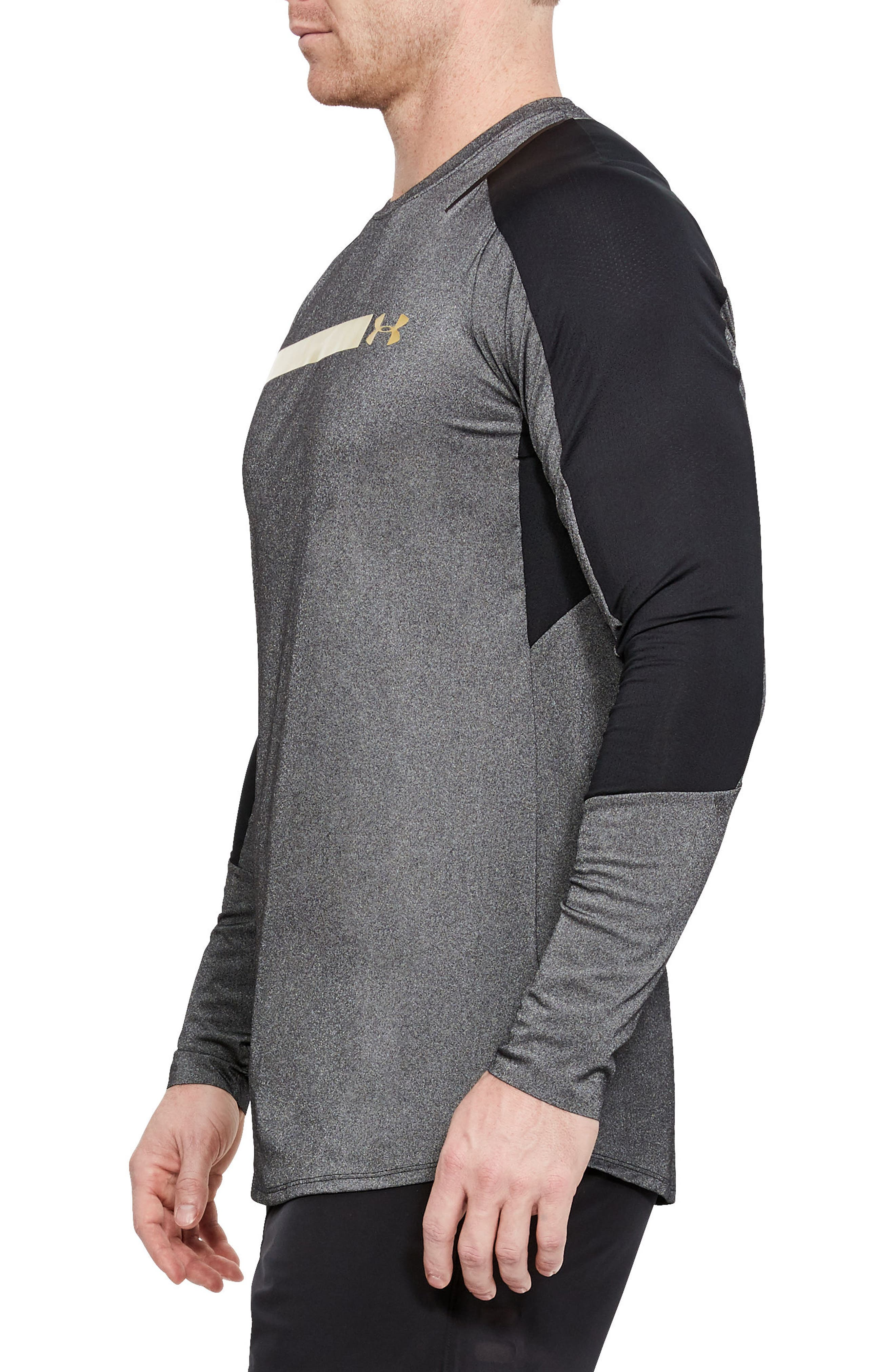 Perpetual Fitted Long-Sleeve Shirt,                             Alternate thumbnail 3, color,                             Black/ Metallic Victory Gold