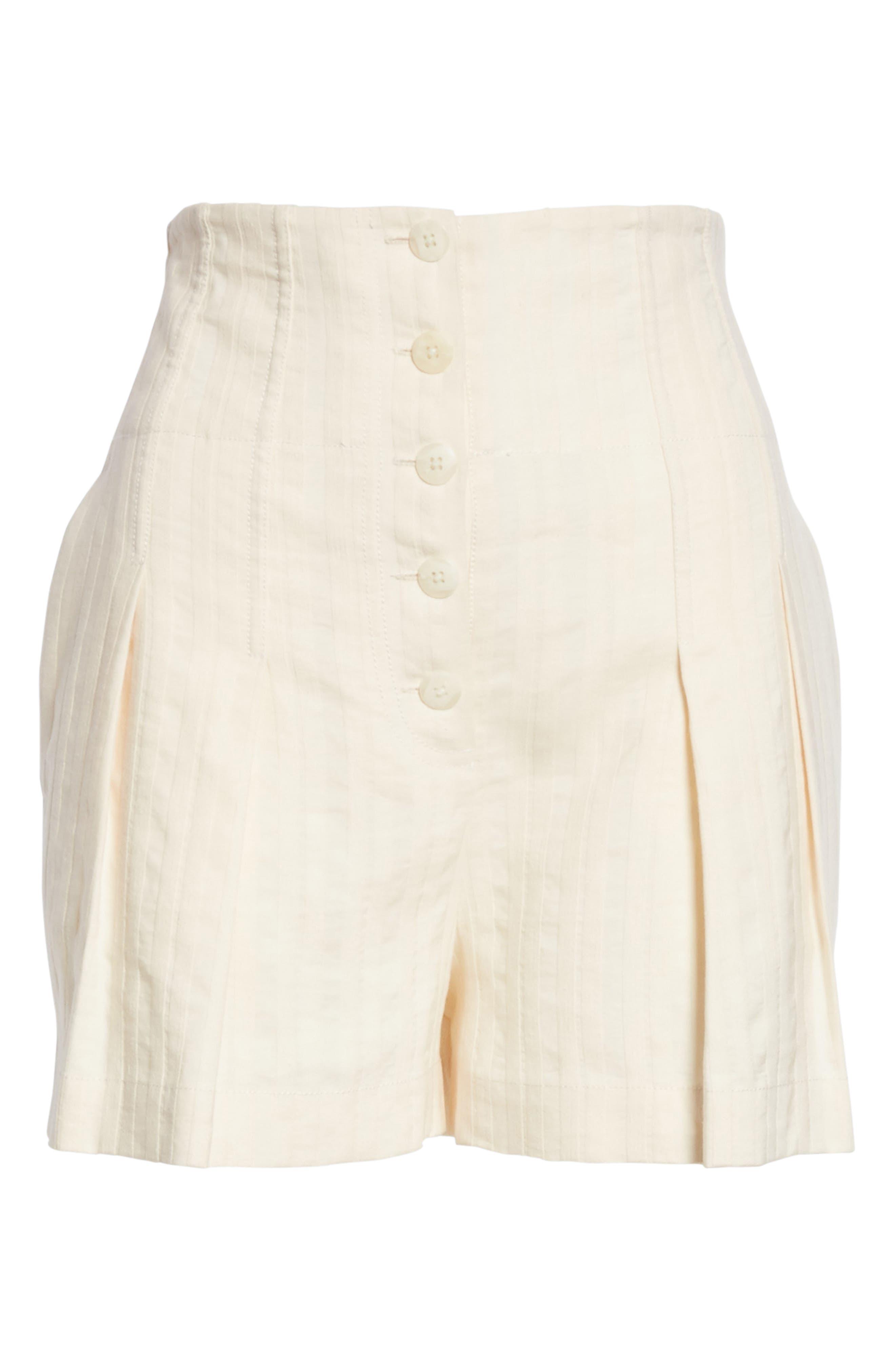 Textured Stripe Shorts,                             Alternate thumbnail 6, color,                             Creme Brulee