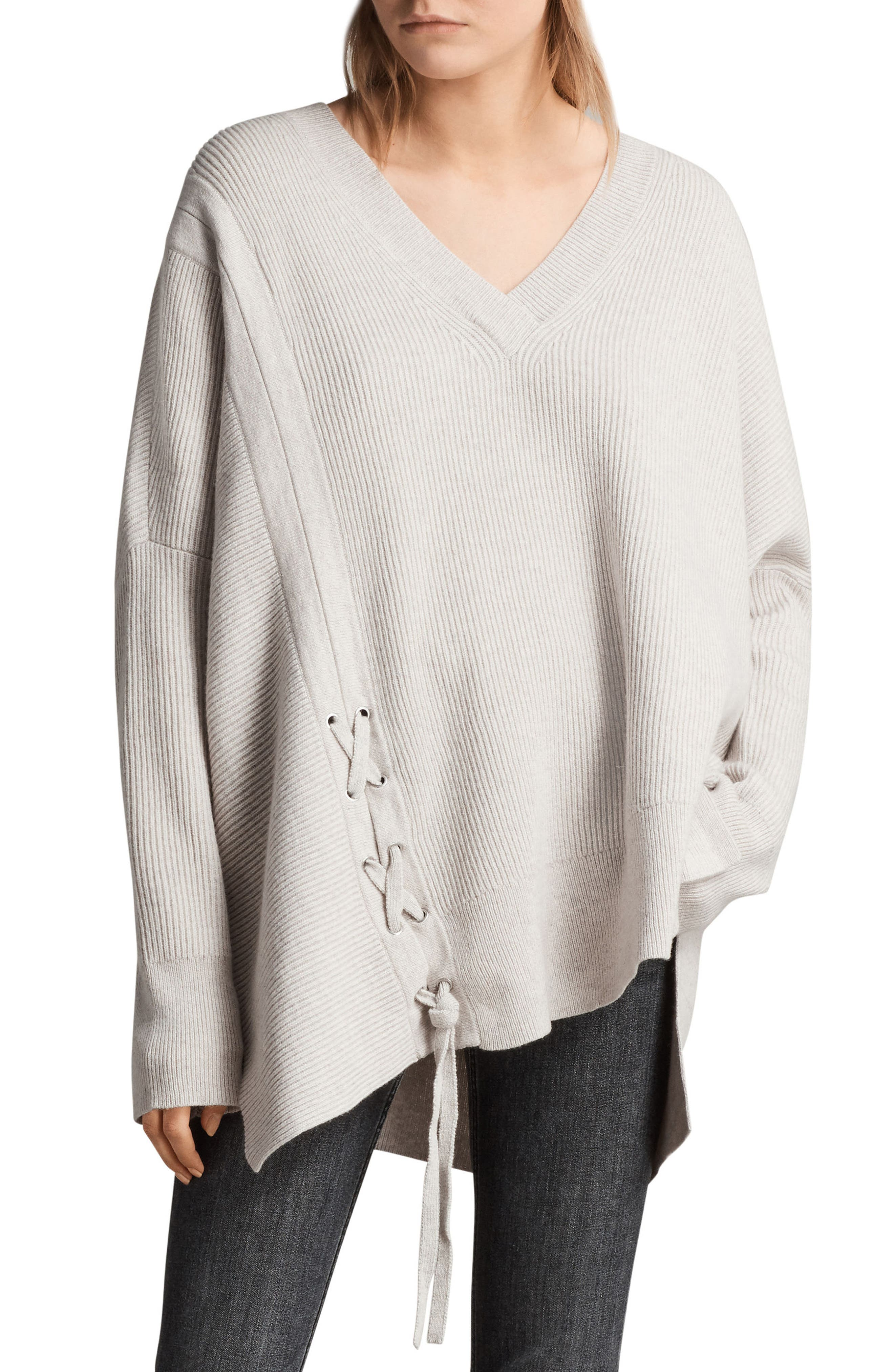 Able Laced Sweater,                         Main,                         color, Porcelain White