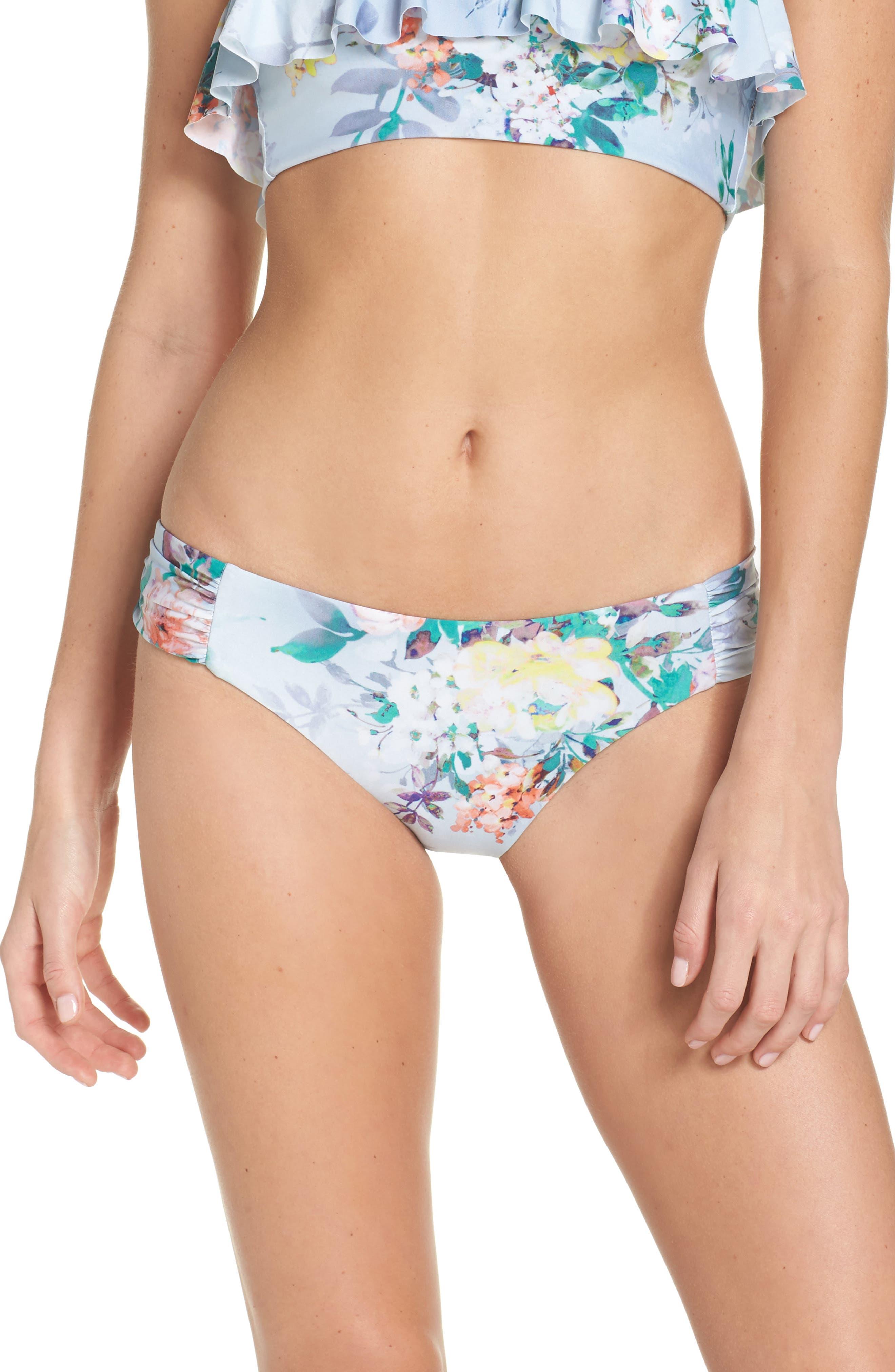 Femme Flora Hipster Bikini Bottoms,                         Main,                         color, Blue Multi