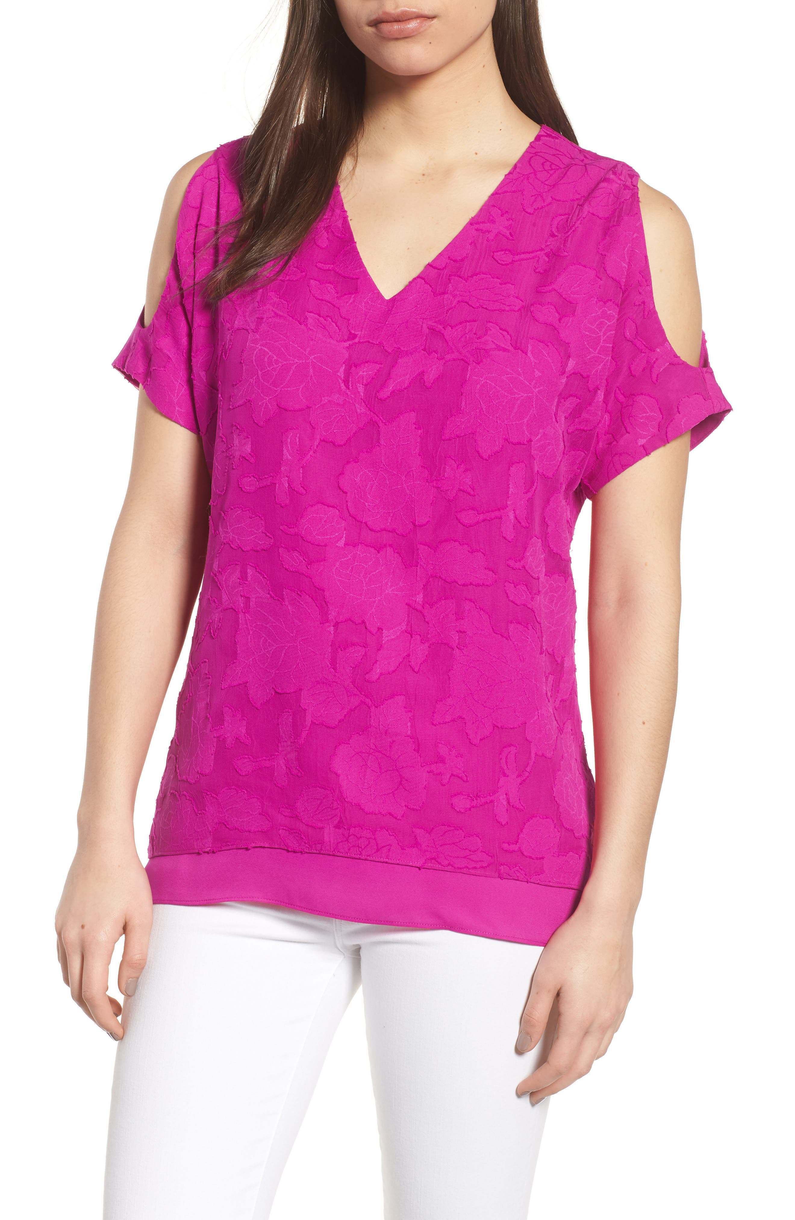 Floral Jacquard Cold Shoulder Top,                             Main thumbnail 1, color,                             686-Pink Nouveau