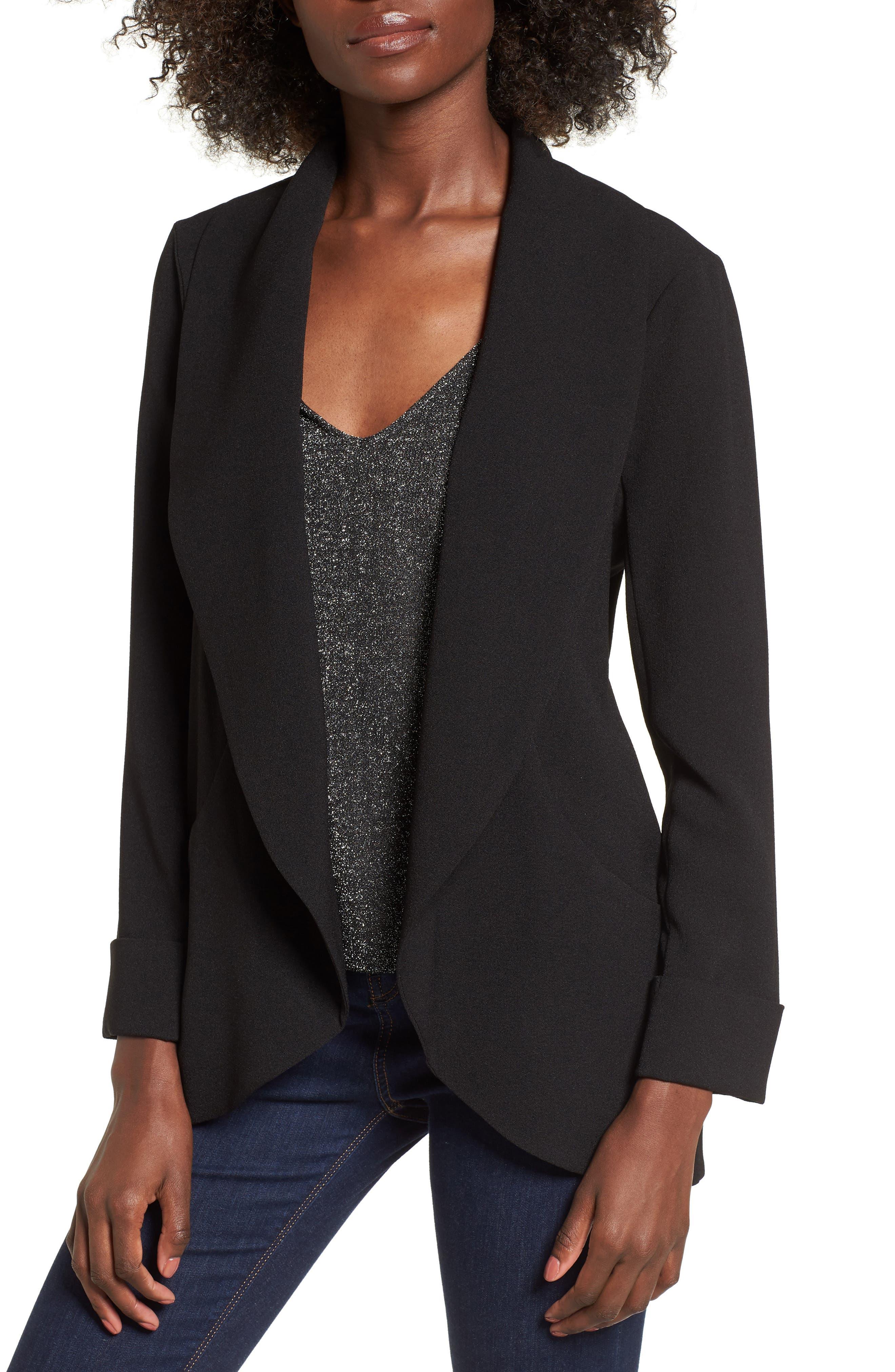Cocoon Blazer,                         Main,                         color, Black