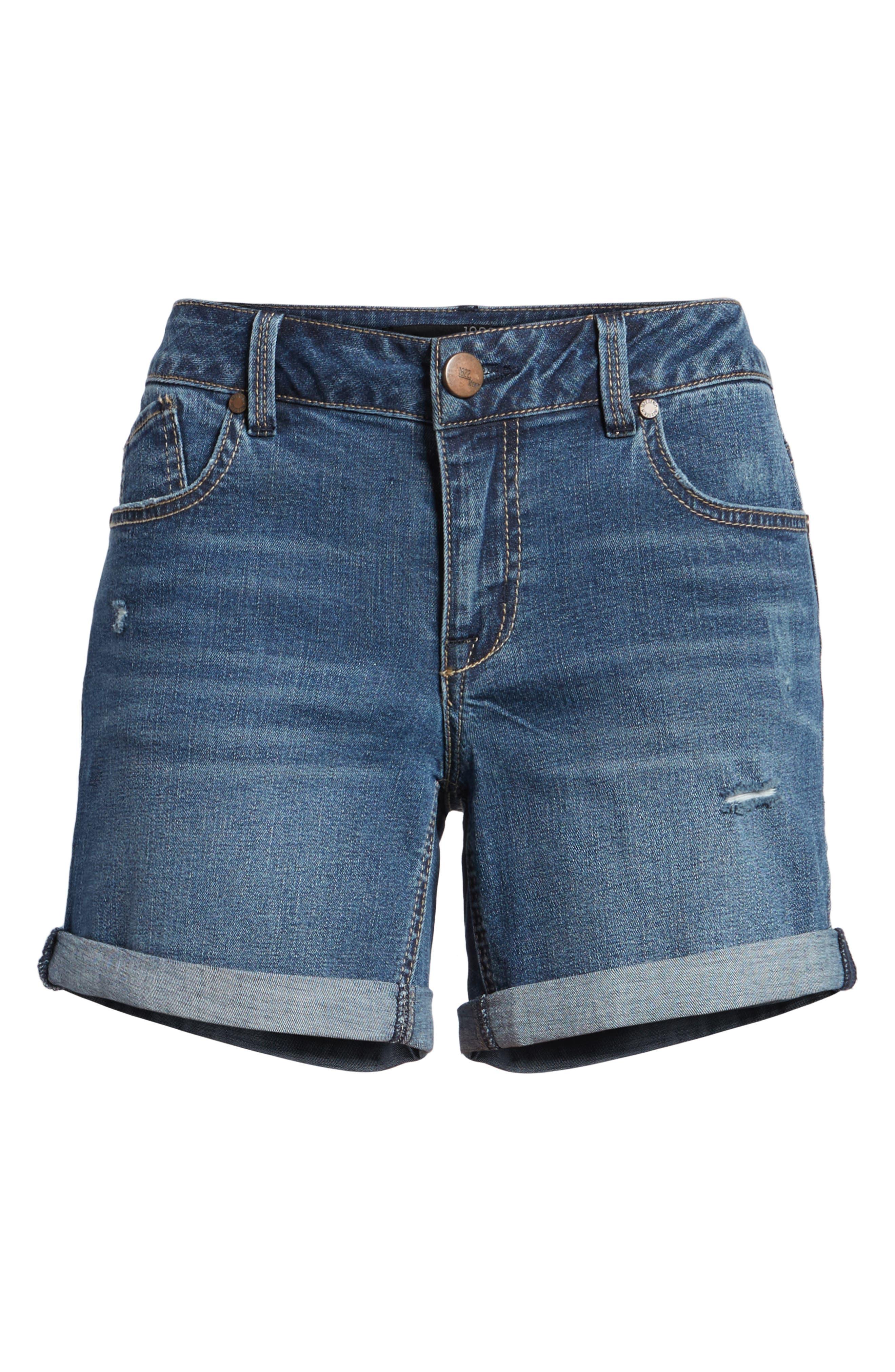 Roll Cuff Denim Shorts,                             Alternate thumbnail 6, color,                             Sublime